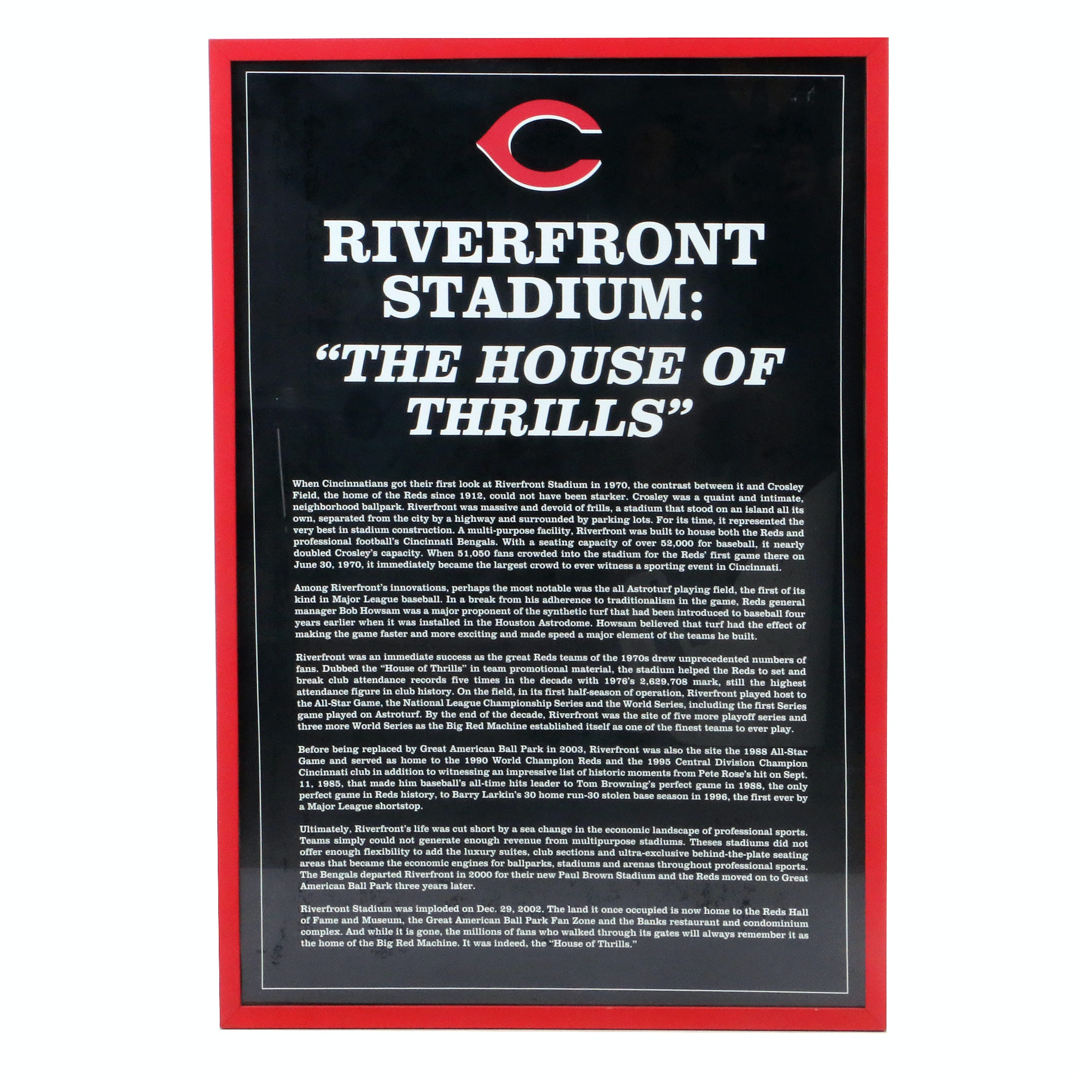"Riverfront Stadium ""The House of Thrills"" Exhibit Sign COA"