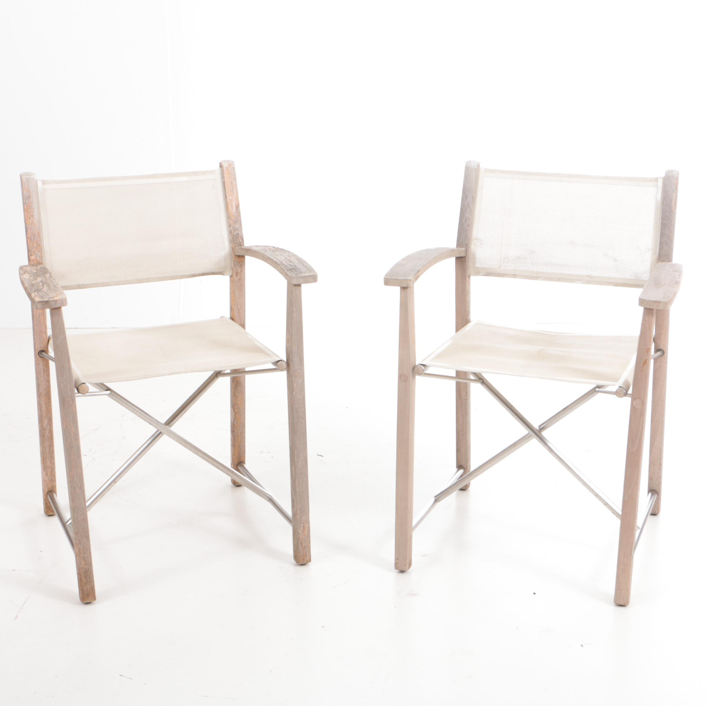 Pair of Gloster Teak Folding Chairs with Sling Seat