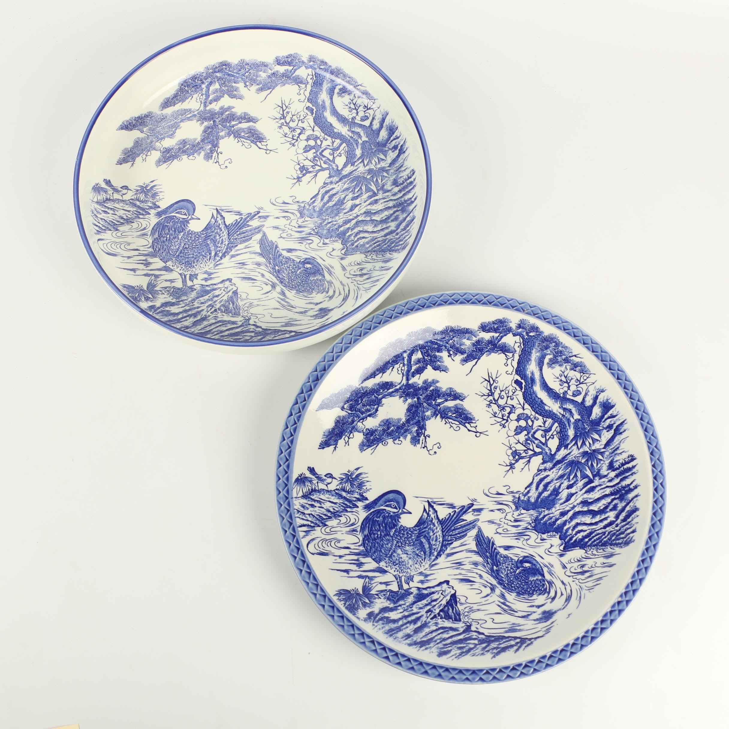 Chinese Blue and White Ceramic Serving Platter and Bowl