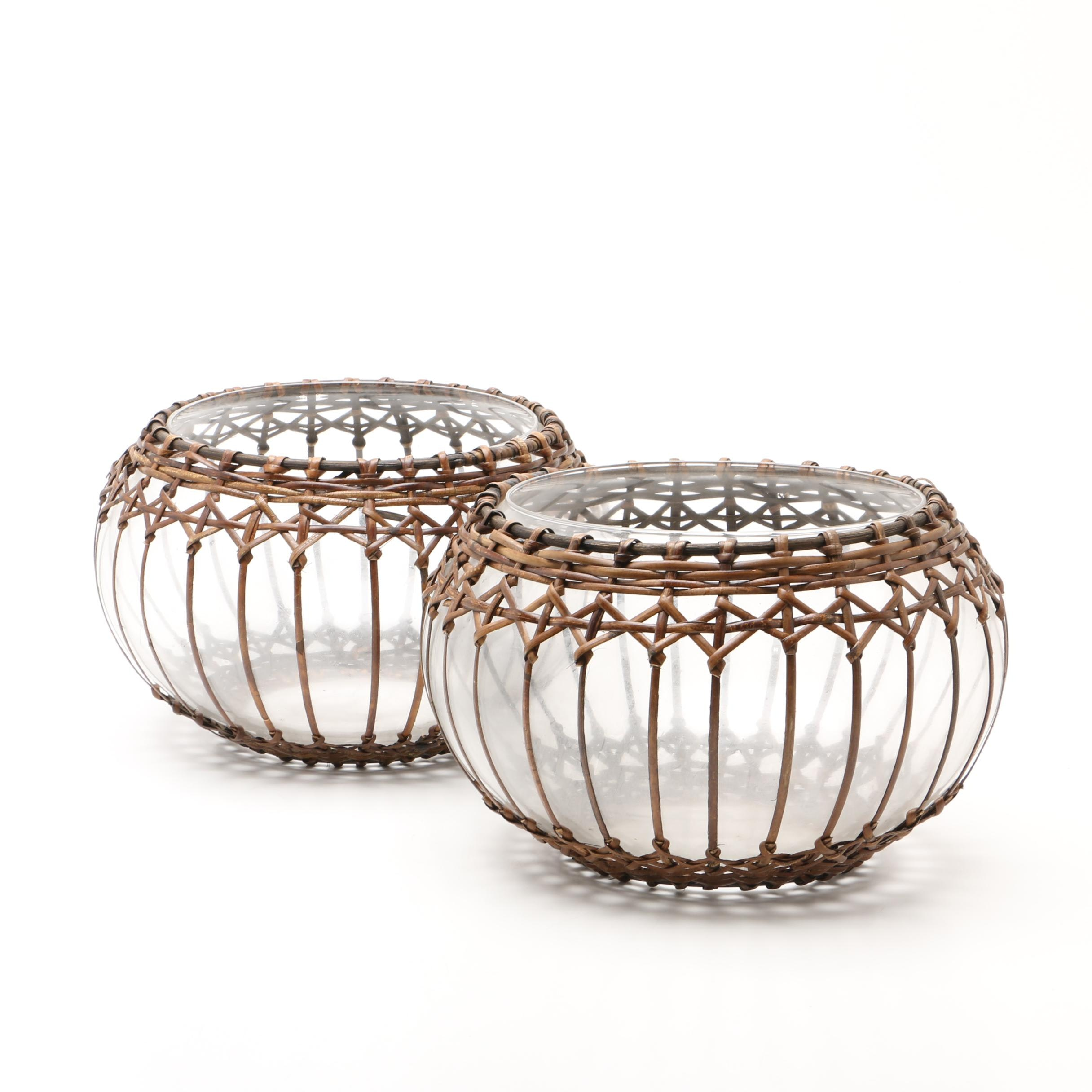 Rattan Wrapped Glass Bowls