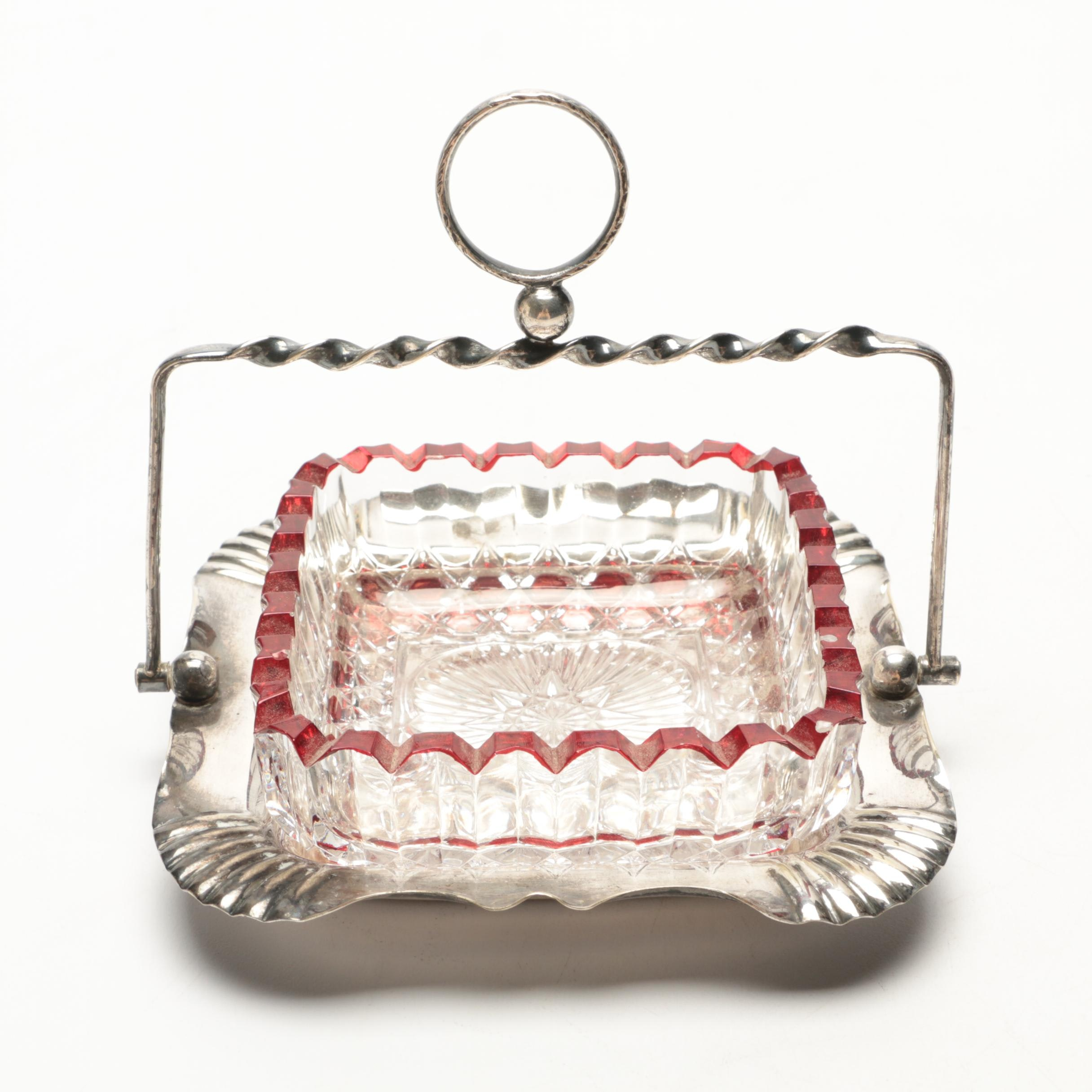 Silver Plate and Glass Candy Dish