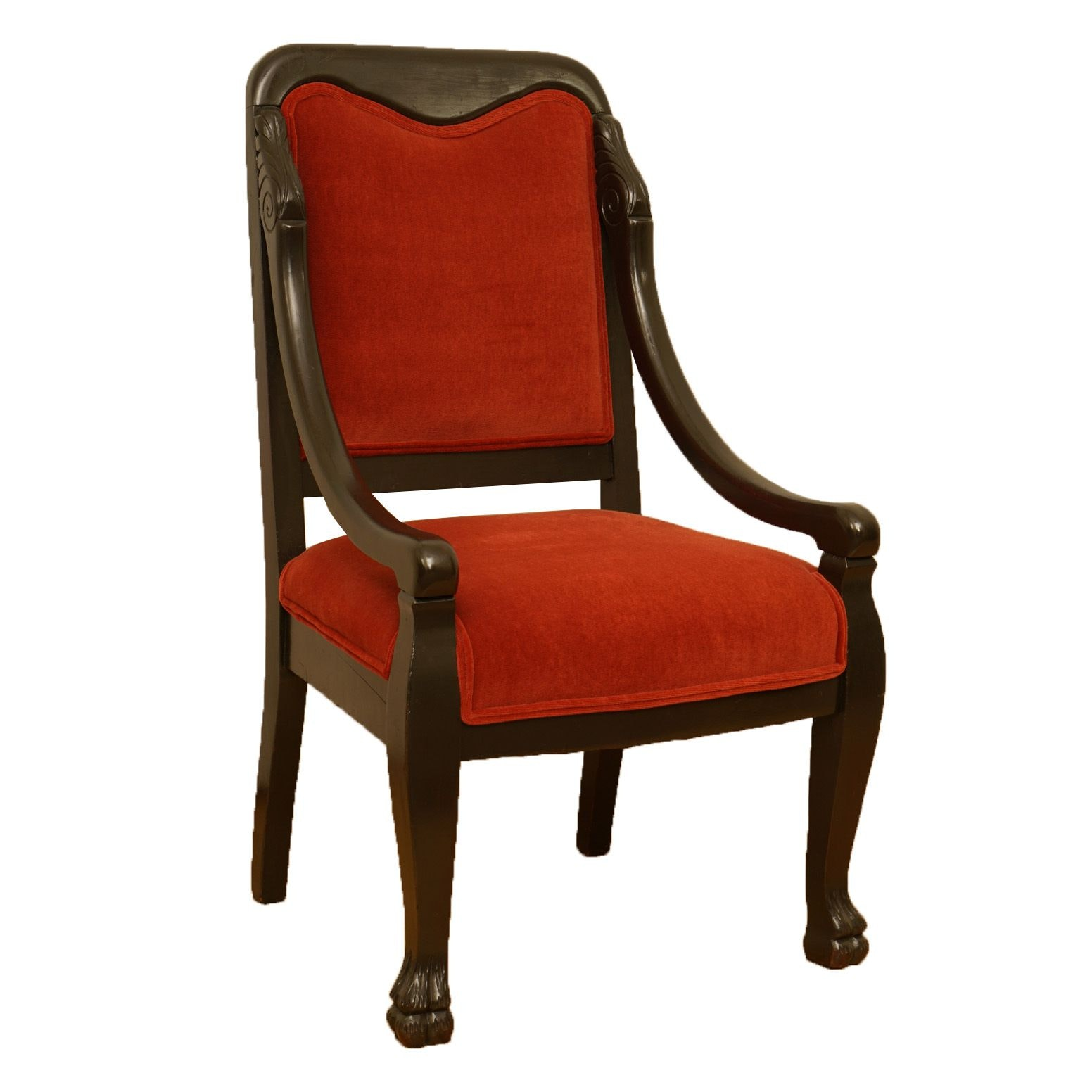 Vintage Empire Style Red Upholstered Armchair