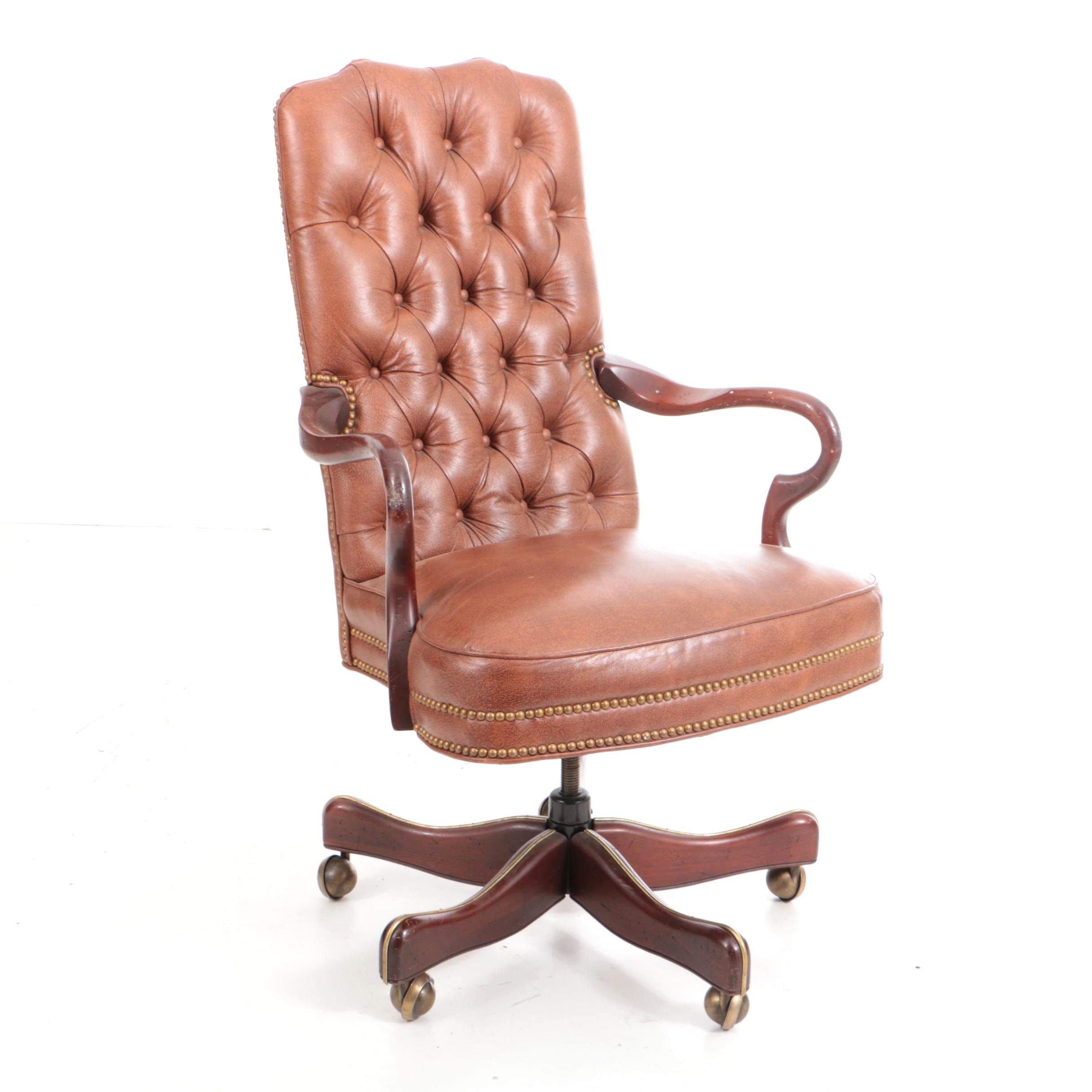 The Charles Stewart Company Tufted and Beaded Leather Office Chair