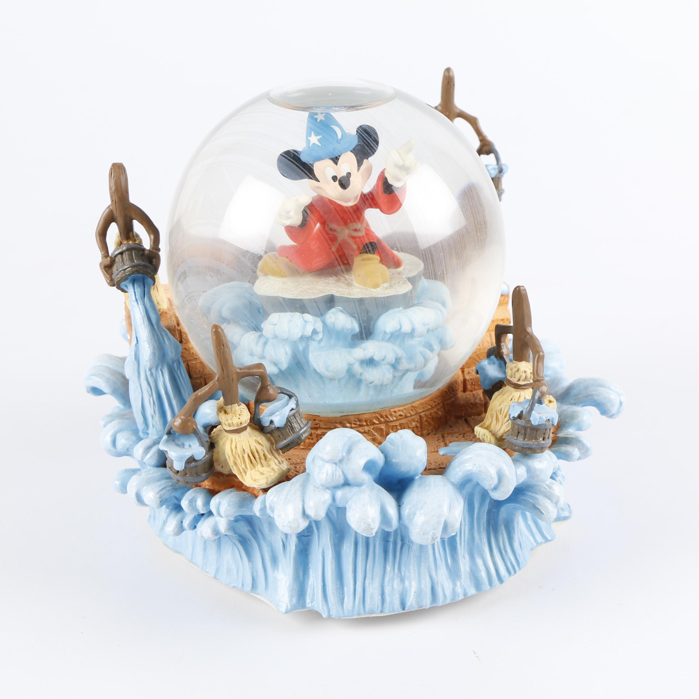 """Disney """"The Sorcerer's Apprentice"""" Mickey Mouse Musical Snow Globe"""