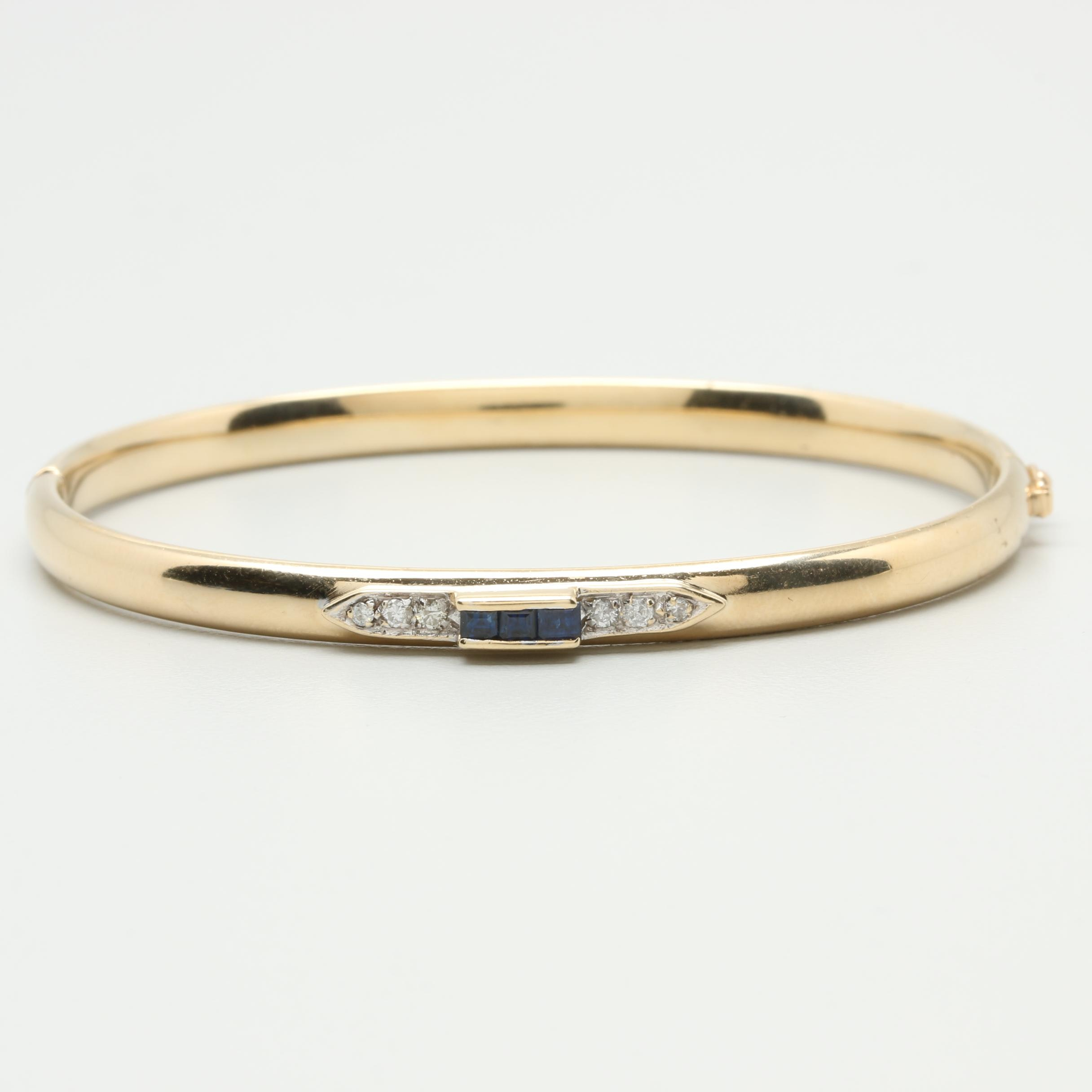 14K Yellow Gold Diamond and Blue Sapphire Bangle Bracelet