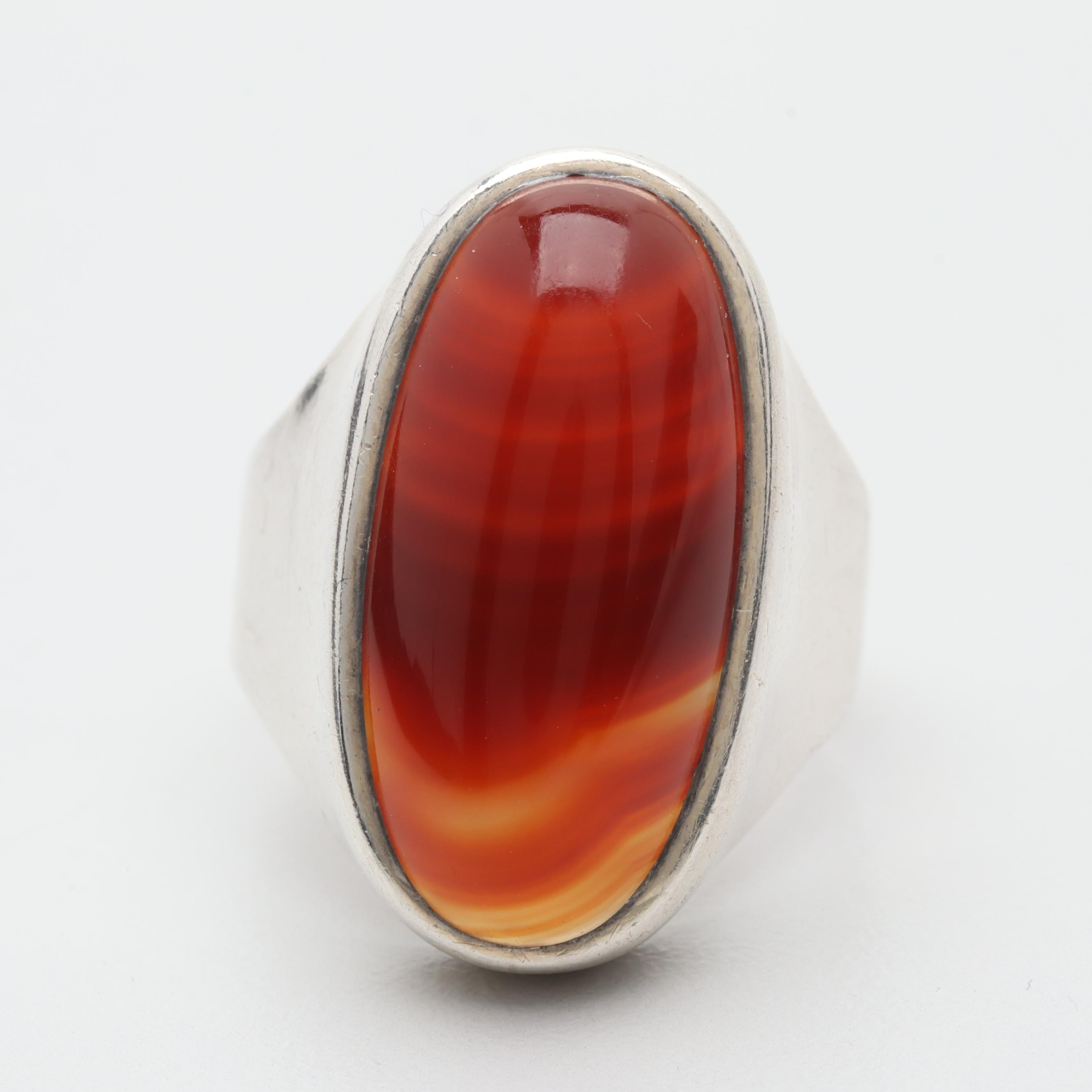 Circa 1976 English Made Sterling Silver Agate Ring