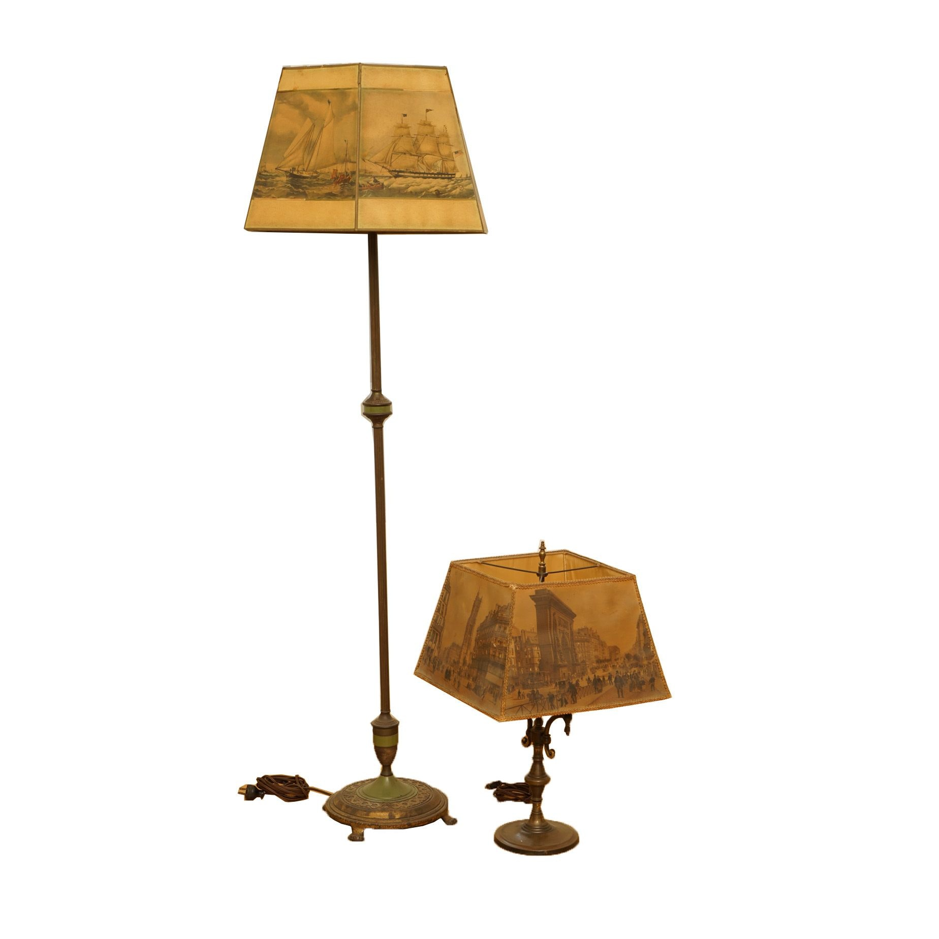 Vintage or Antique Brass Lamps with Historical Scene Shades