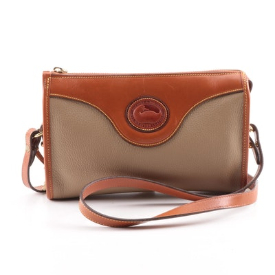 f6904a0c38 Vintage Dooney   Bourke All-Weather Leather Taupe and Tan Crossbody Bag