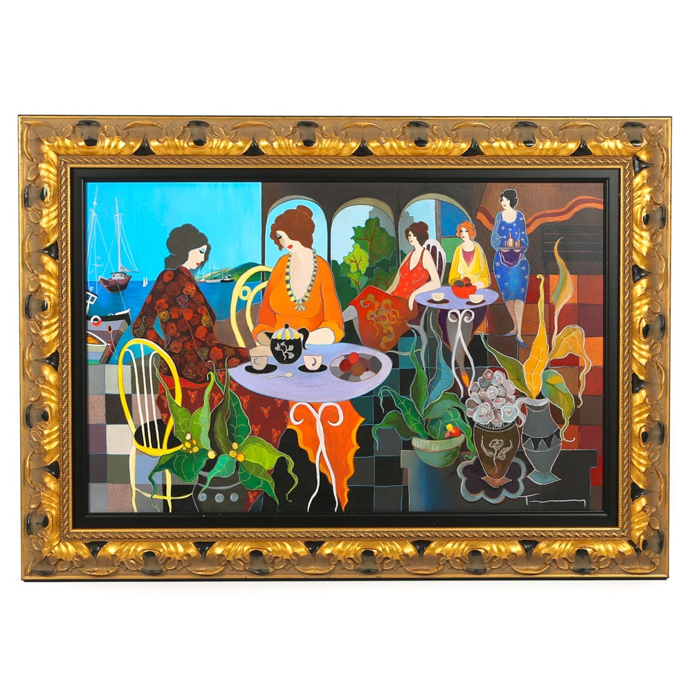 "Itzchak Tarkay Serigraph on Canvas ""Lunch in the Gardens"""