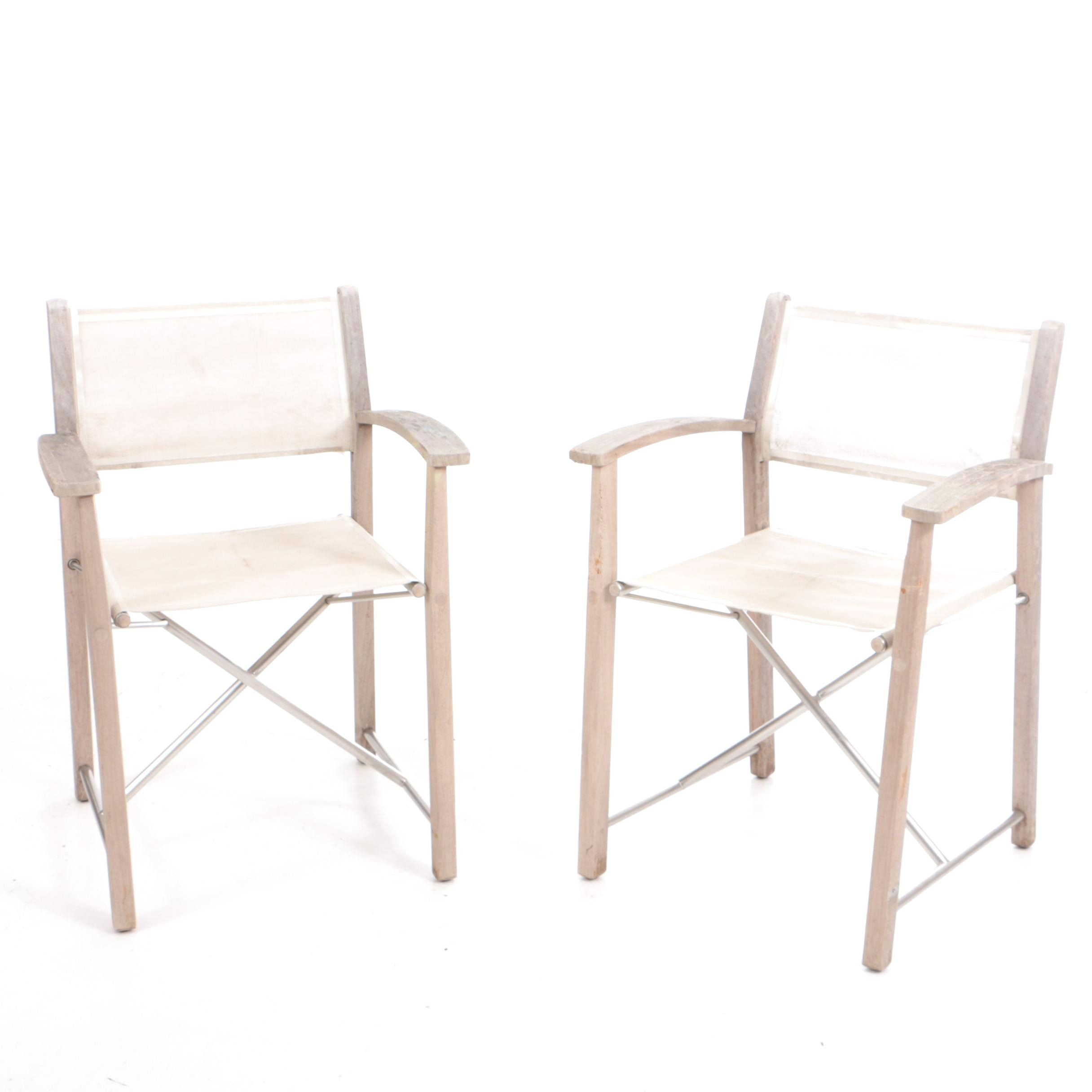 Pair of Gloster Teak Folding Chairs with Off White Mesh Sling Seats