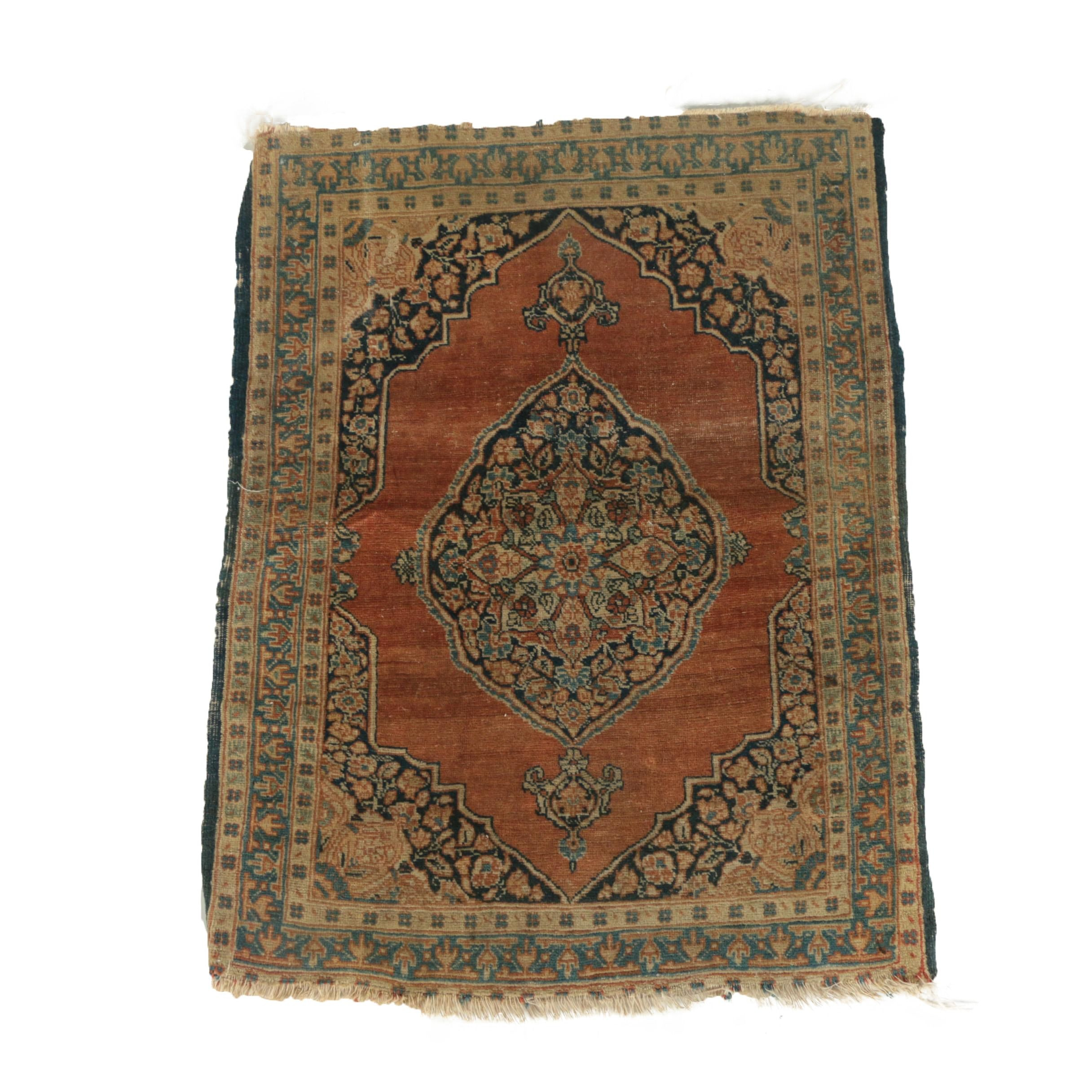 Antique Hand-Knotted Persian Qom Wool Accent Rug