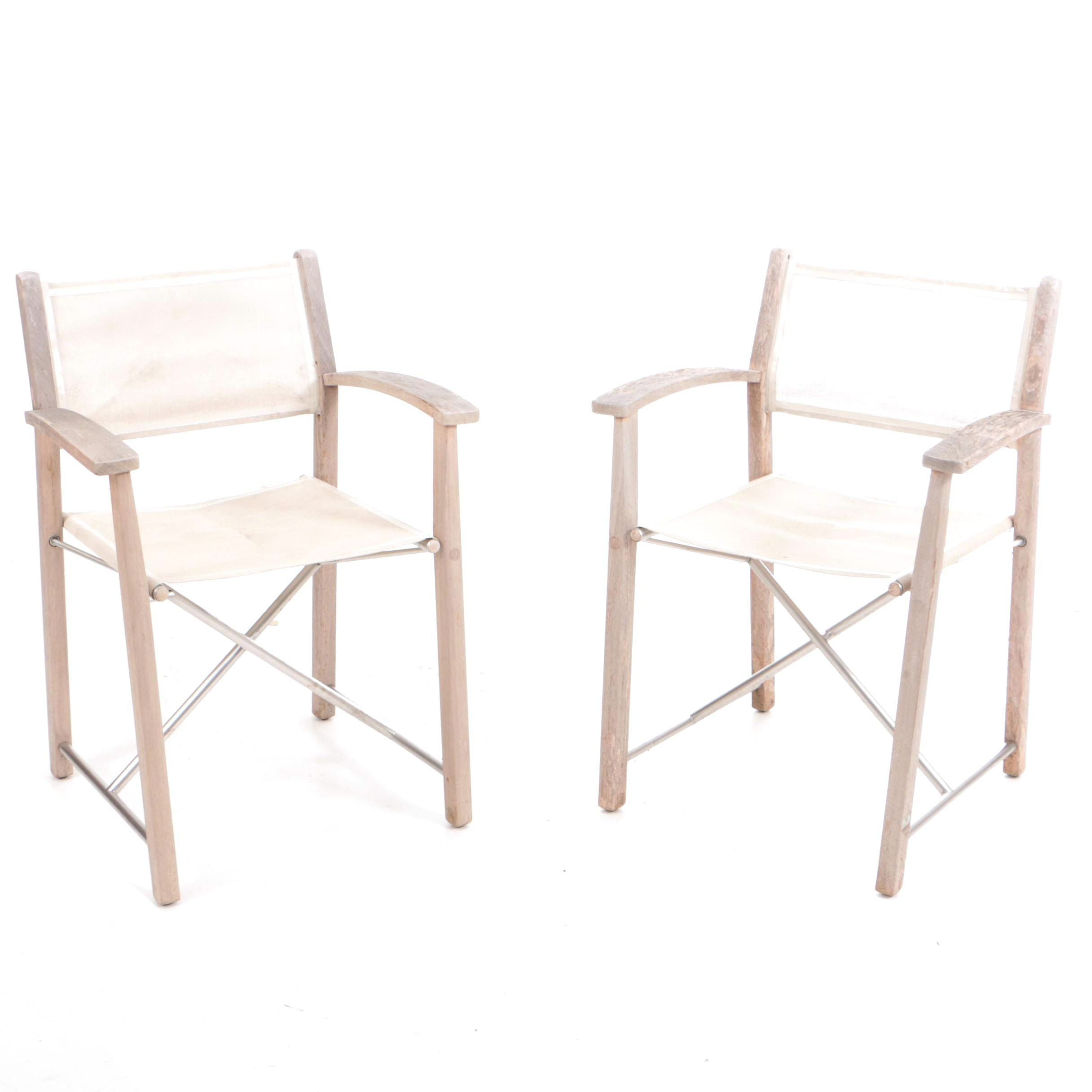 Pair of Gloster Teak Folding Chairs with Sling Seats