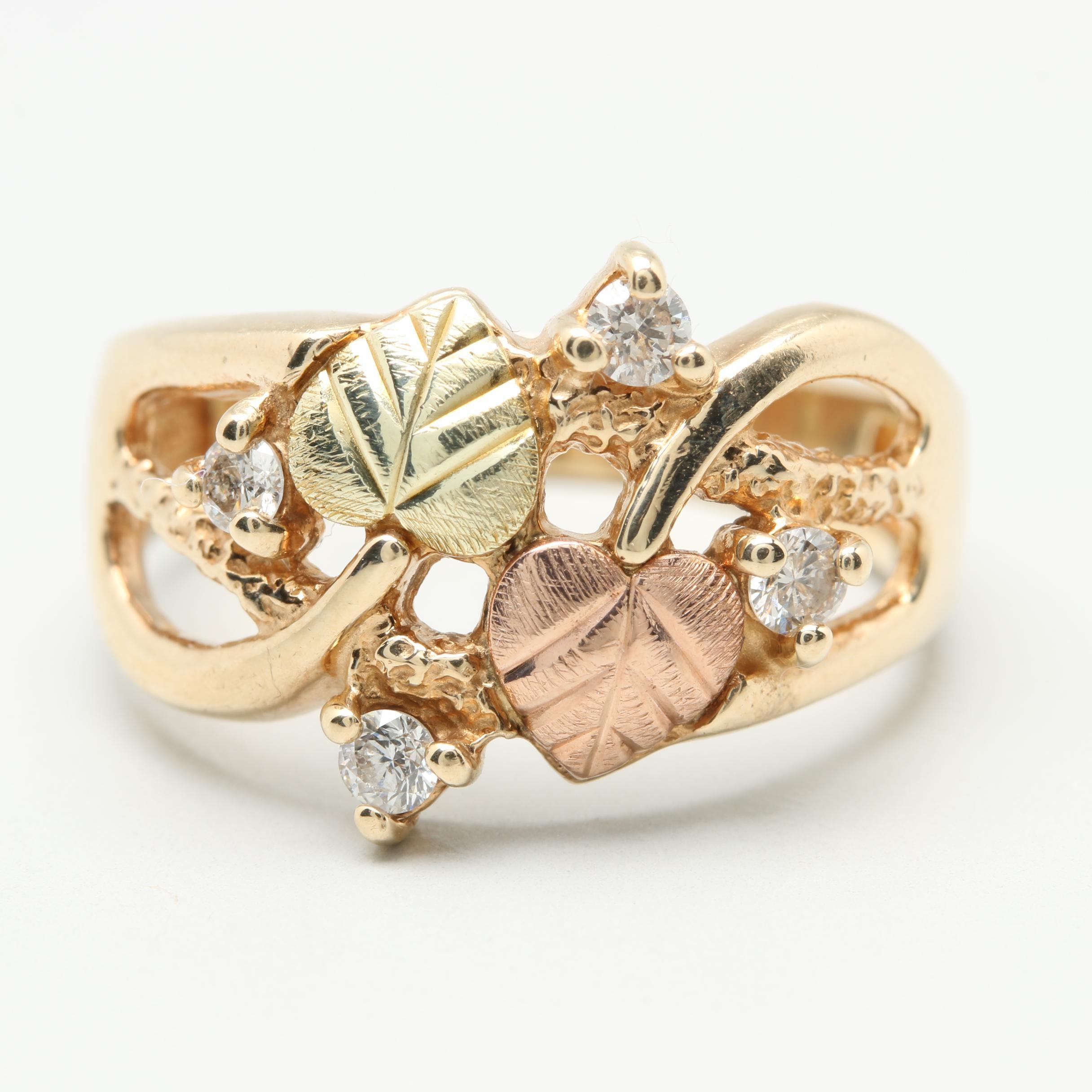 Coleman Black Hills Company 10K Tri-Gold Diamond Ring