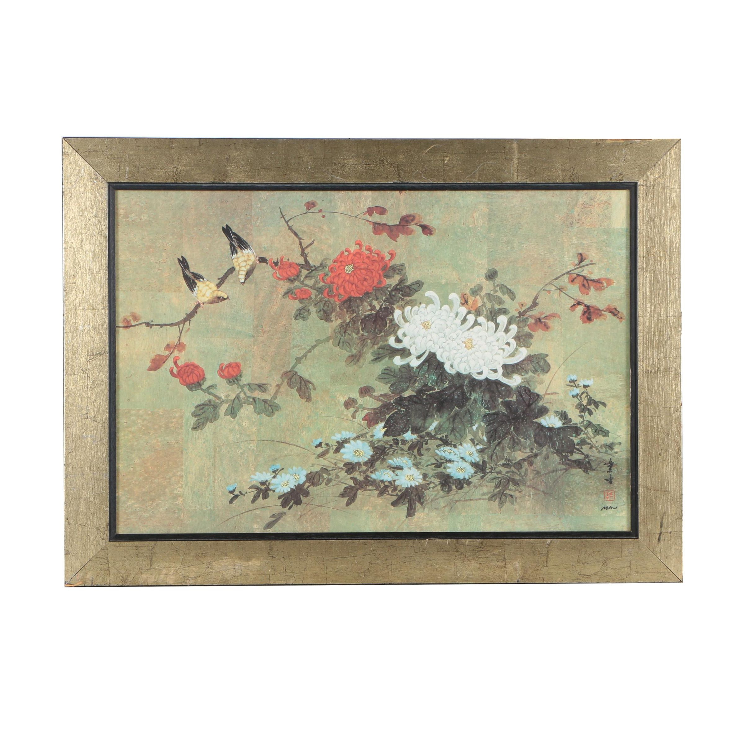 "After Hui Chi Mau Offset Lithograph ""Oriental Autumn"""