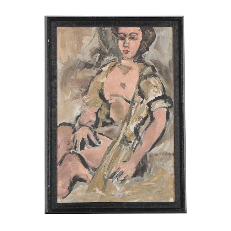 Vintage Abstract Female Figure Oil Painting