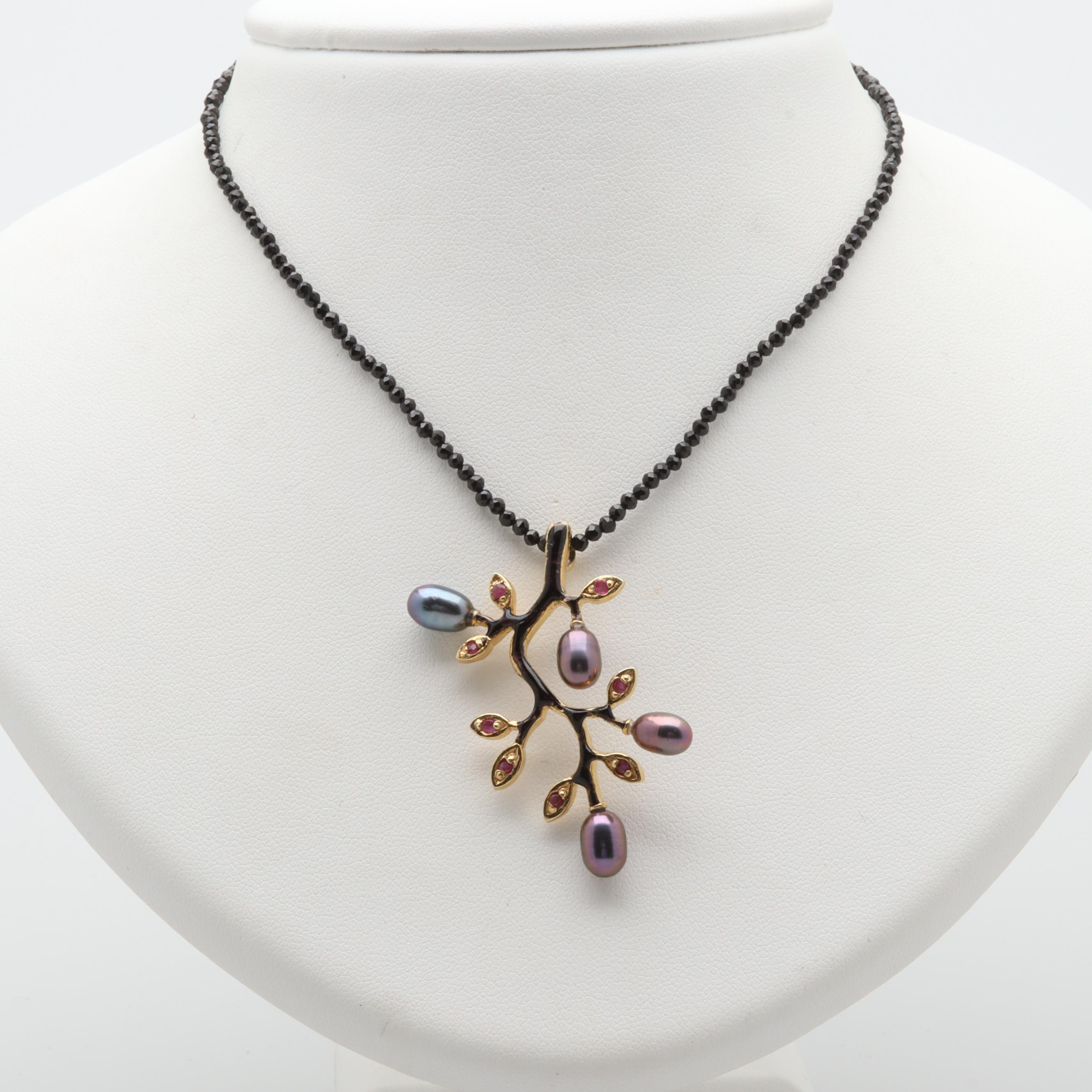Gold Wash on Sterling Ruby, Cultured Pearl, and Black Cubic Zirconia Necklace