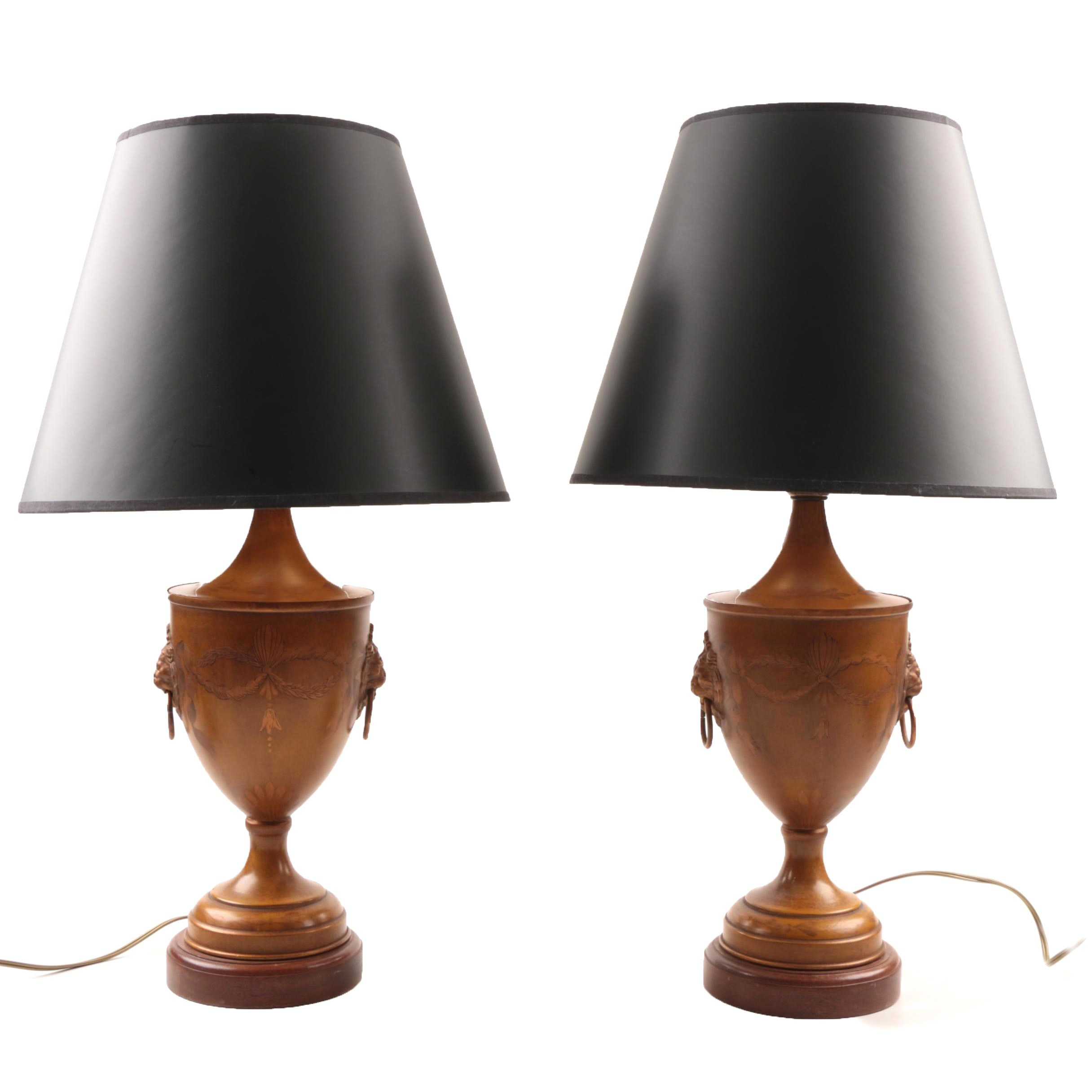 Painted Classical Metal Urn Form Lamps With Black Shades