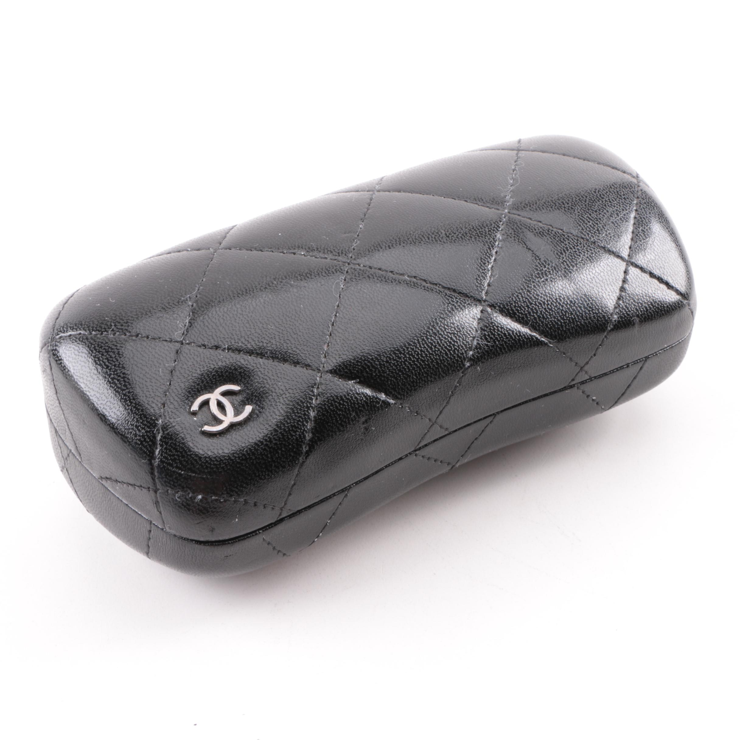 Chanel Black Quilted Leather Sunglasses Case