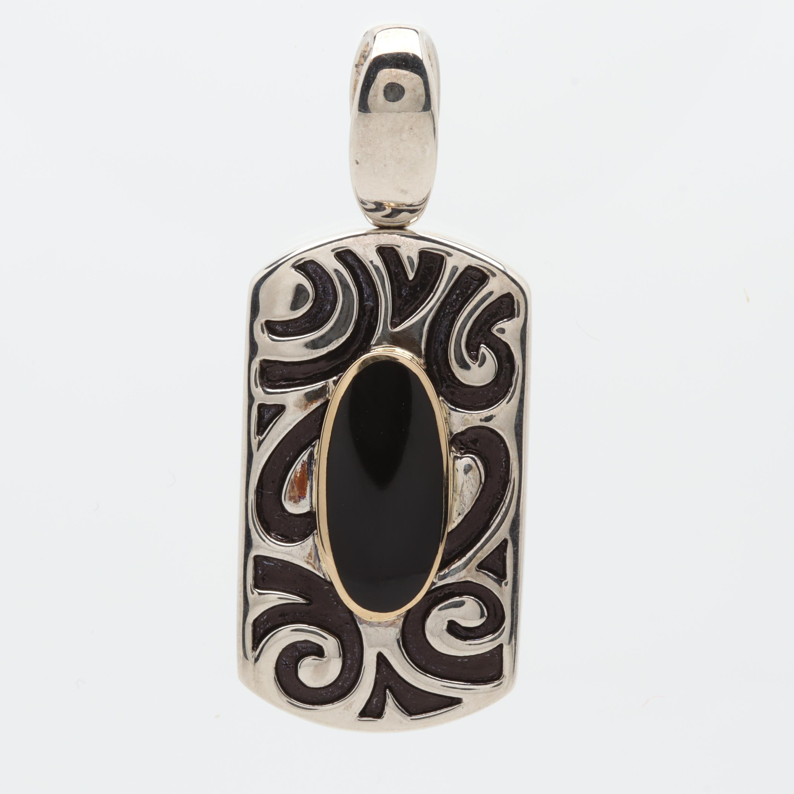 John Bagley Sterling Silver Black Onyx Pendant with 18K Yellow Gold Accent