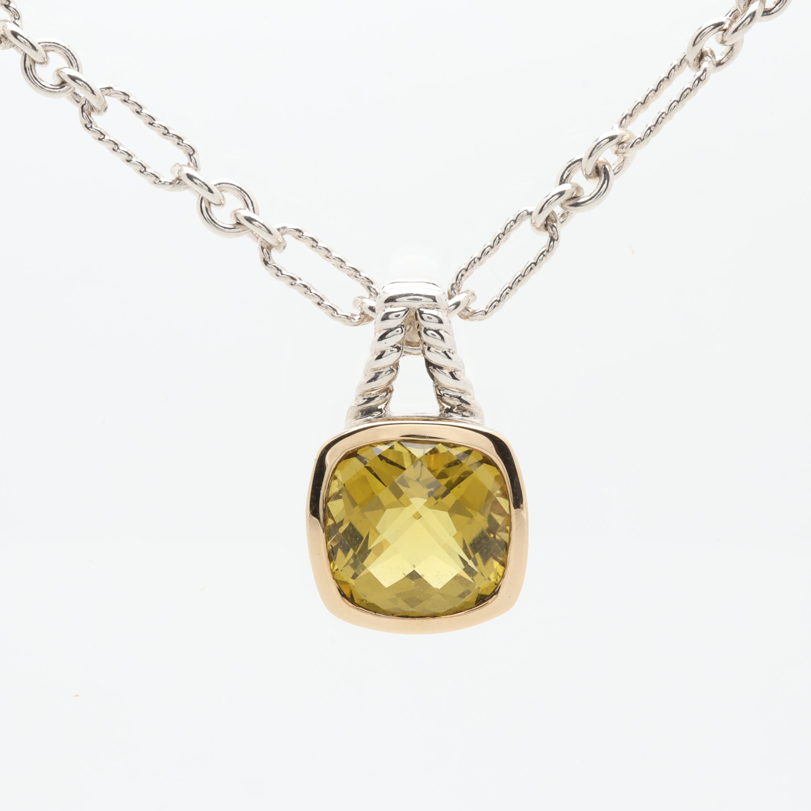 Lorenzo Sterling Silver Citrine Necklace with 18K Yellow Gold Accent