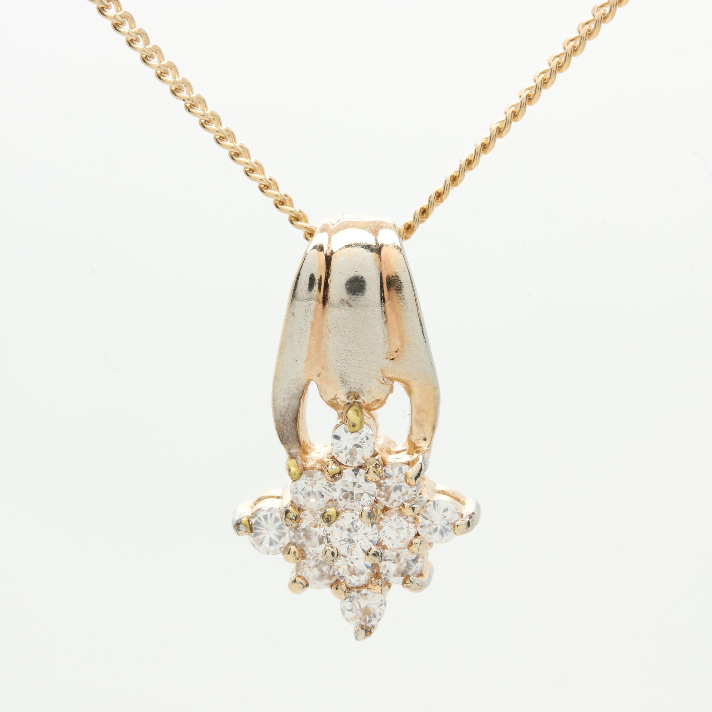 Gold Tone Metal Cubic Zirconia Star Burst Necklace