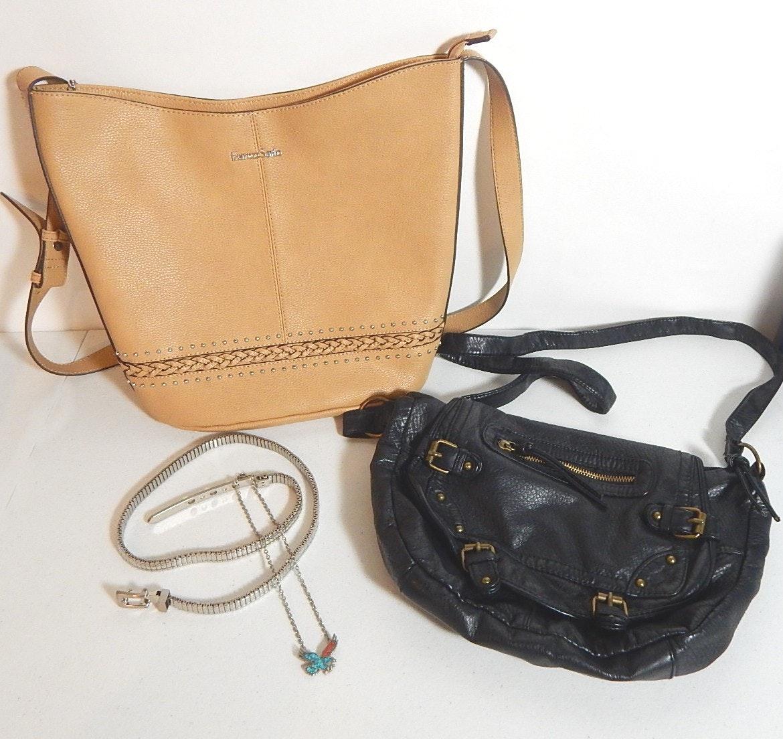 Franco Sarto Tan Handbag and Black Mossimo Bag, Jewelry
