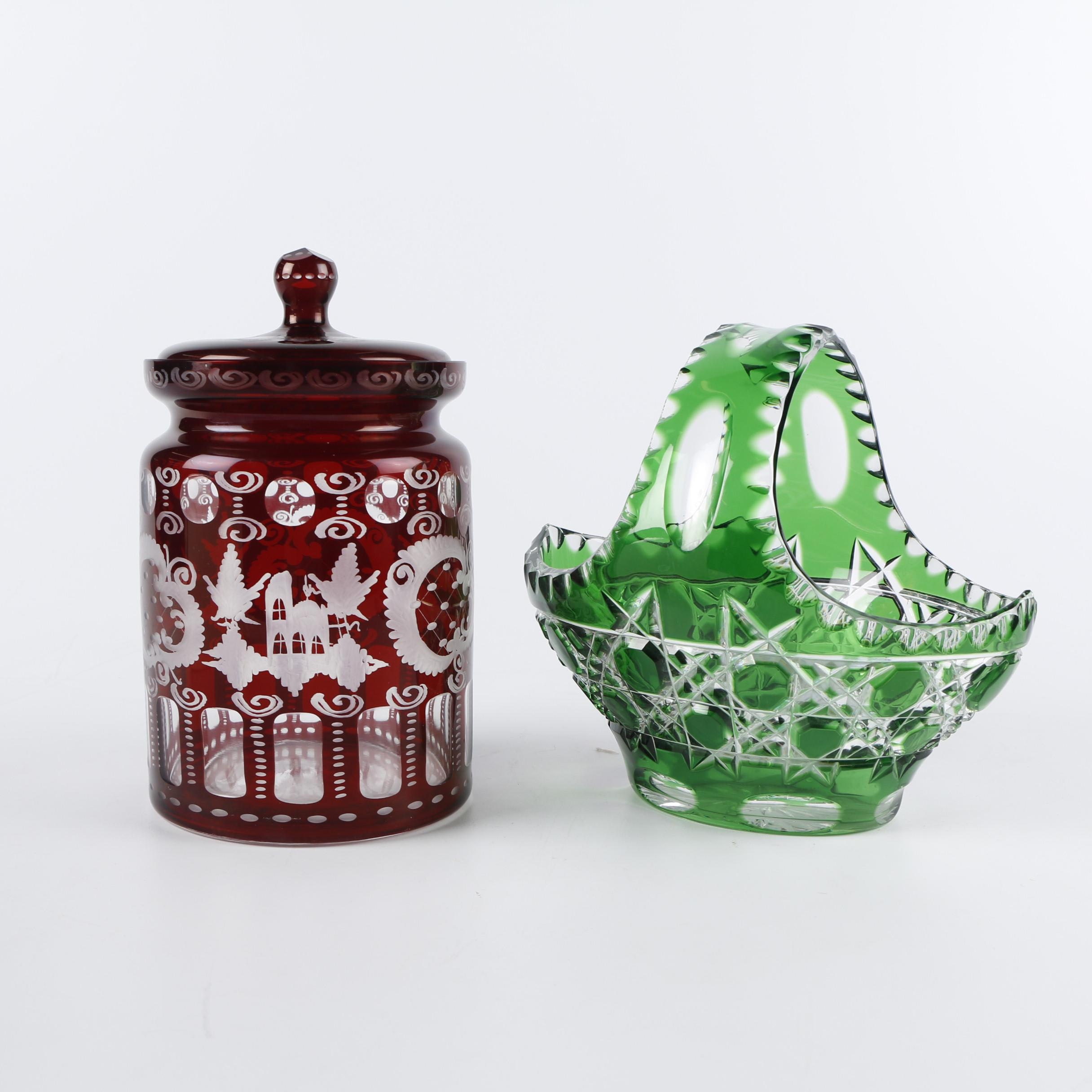 Egermann Flashed and Etched Biscuit Barrel with Cut Emerald Crystal Basket