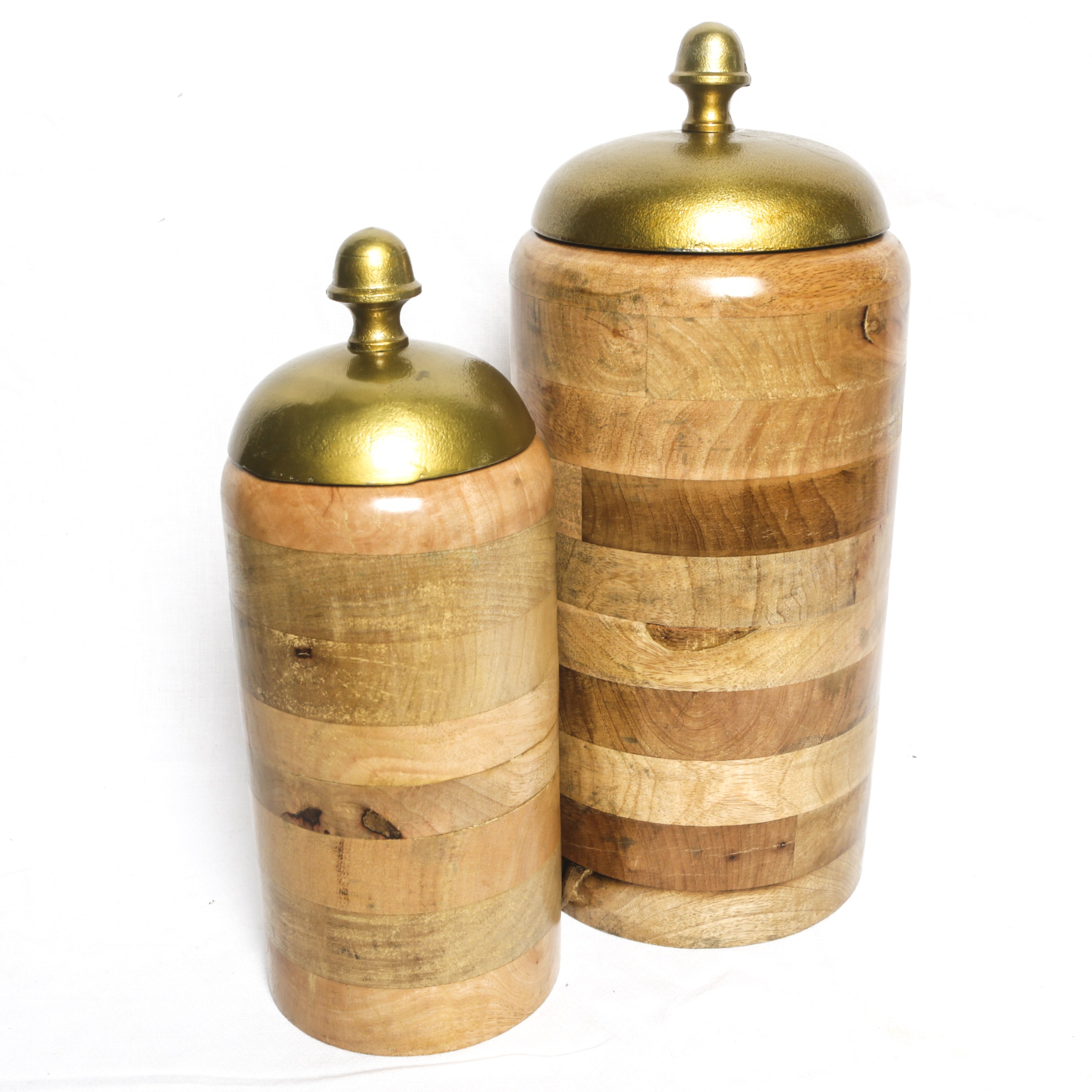 Banded Wood Canisters with Metal Lids