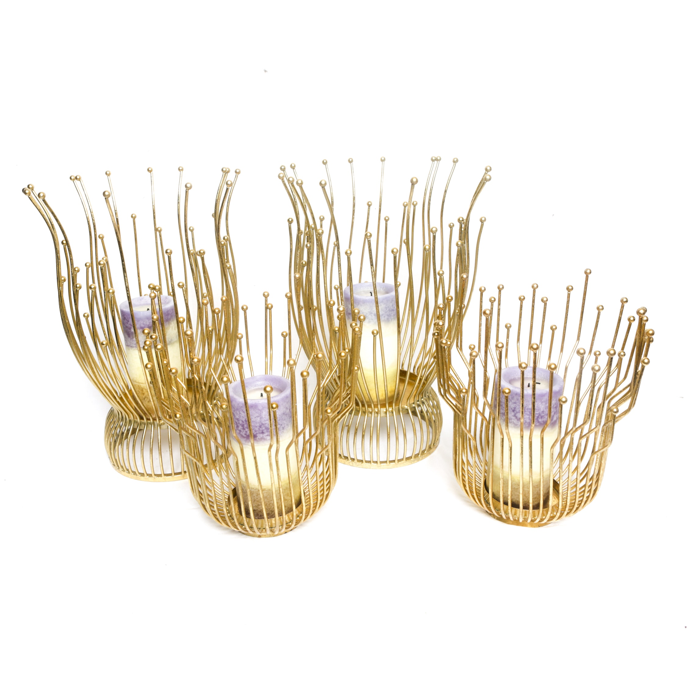 Ball Top Multi-Pronged Gold Finish Metal Candleholders with Candles