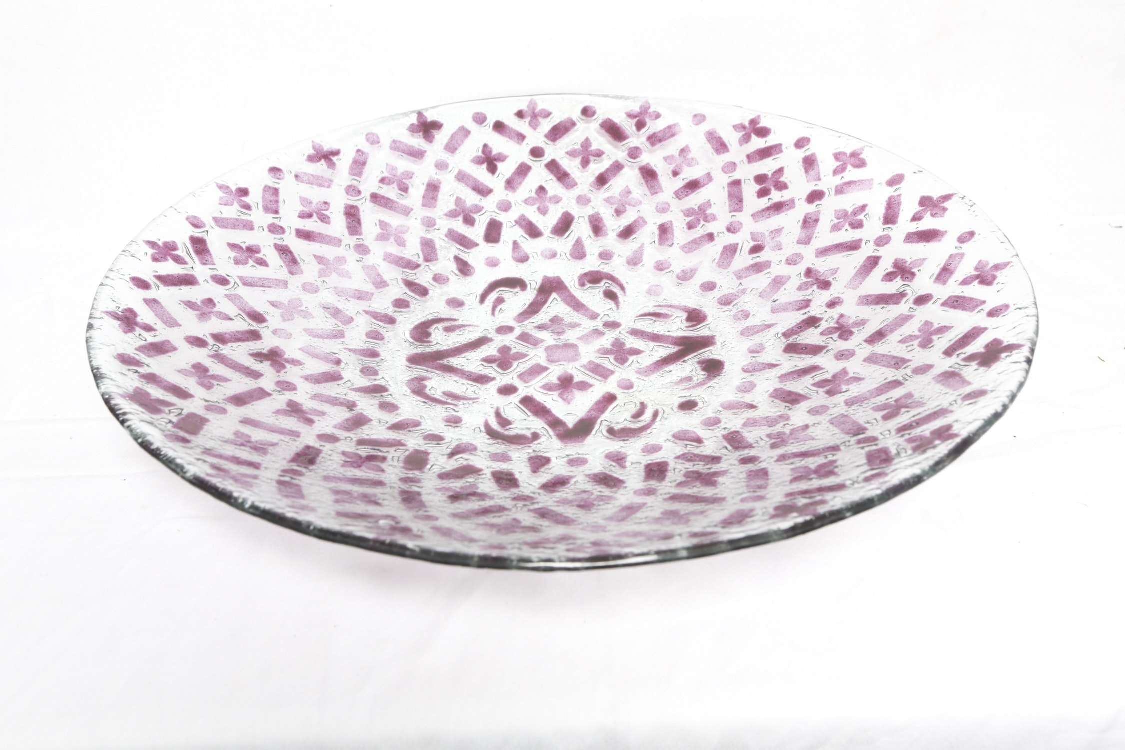 Artificial Floral Arrangments with Patterned Glass Dish