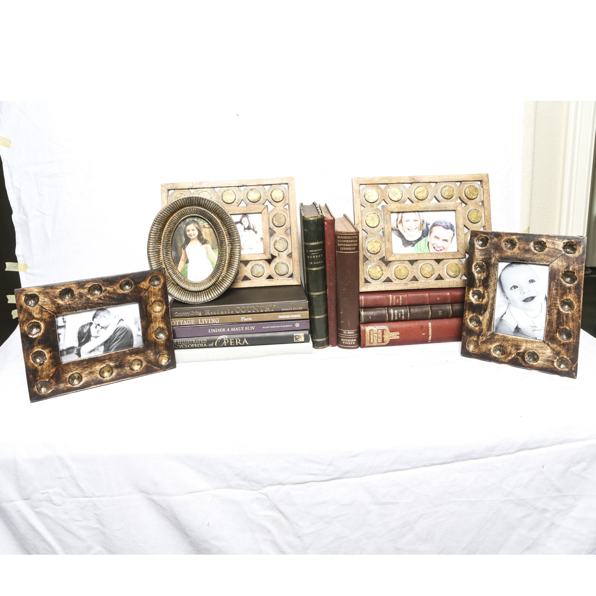 Distressed Wooden Picture Frames with Hardcover Books