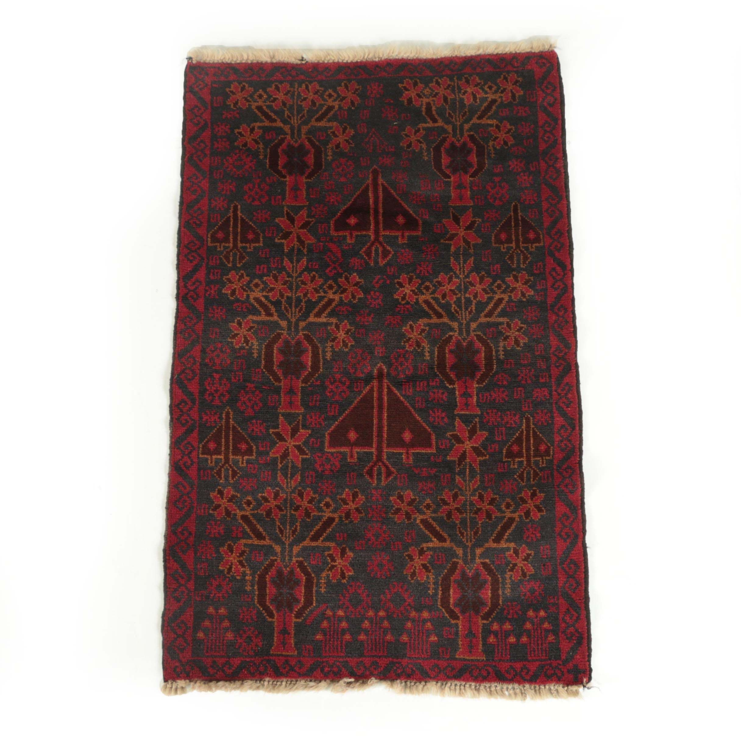 Vintage Hand-Knotted Baluch Tribal Wool Accent Rug