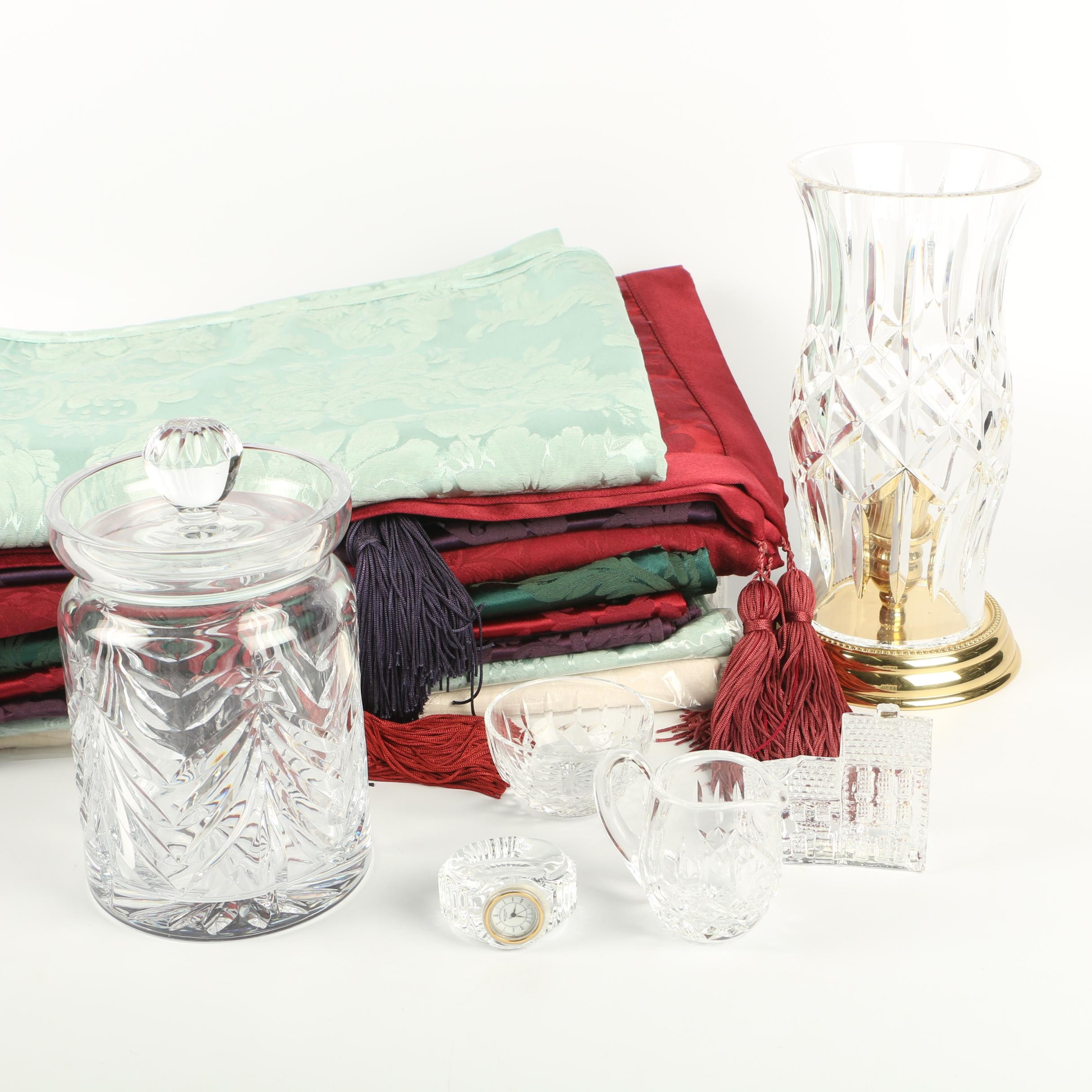 "Waterford Crystal ""Prescott"" Hurricane, Biscuit Barrel, Decor and Table Linens"