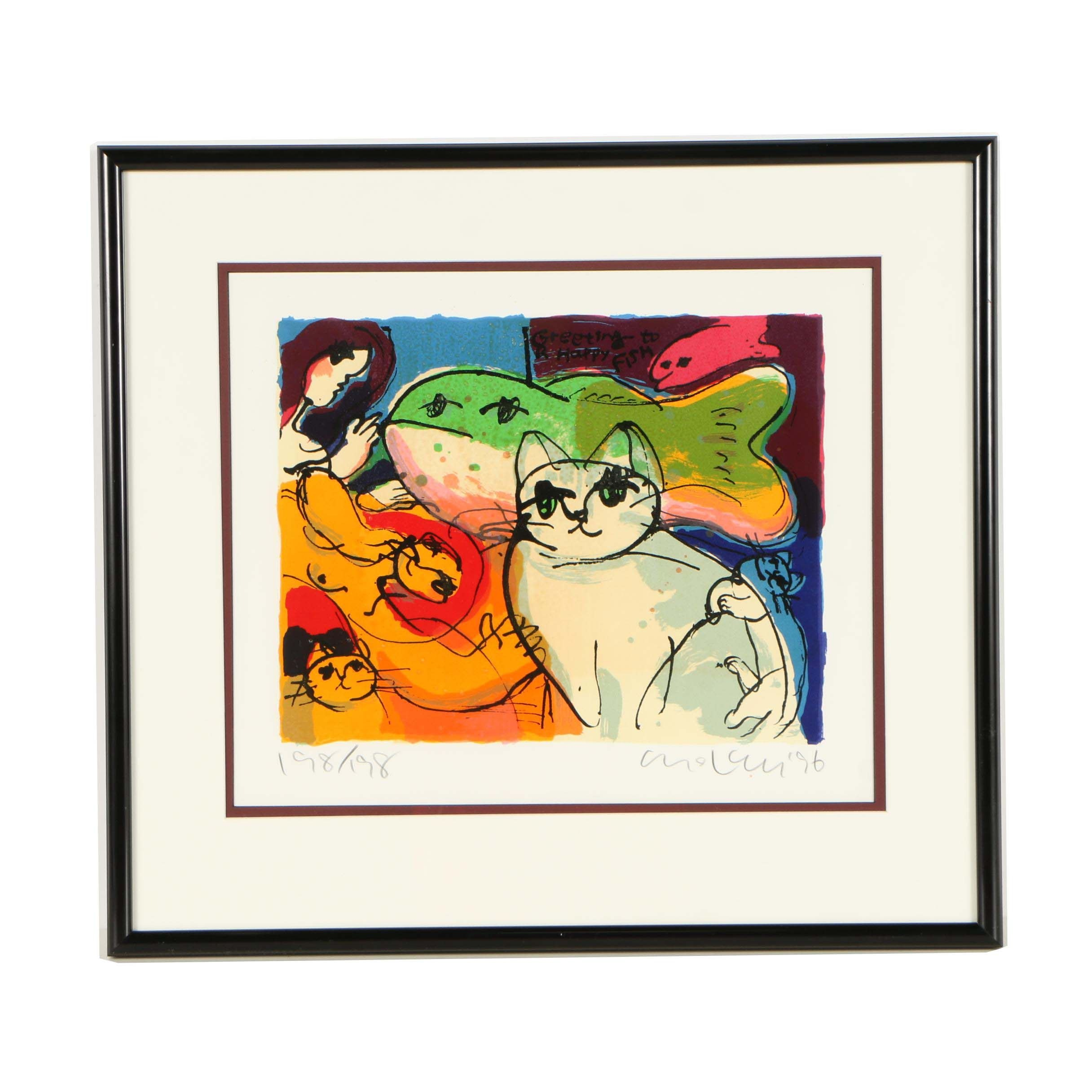 "Michael Leu Limited Edition Serigraph ""Greeting to a Happy Fish"""