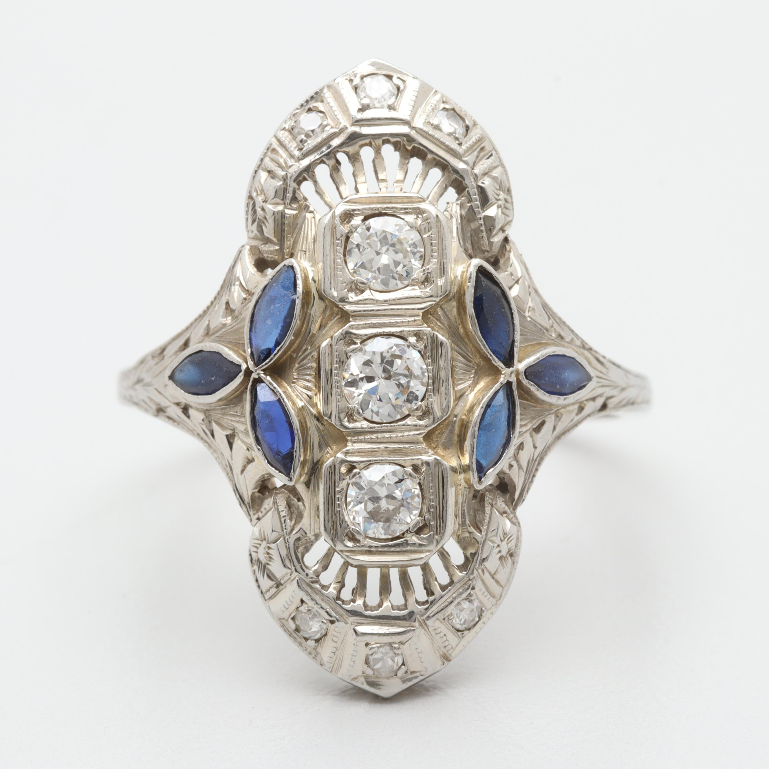 Art Deco 18K White Gold Diamond and Synthetic Blue Sapphire Dinner Ring