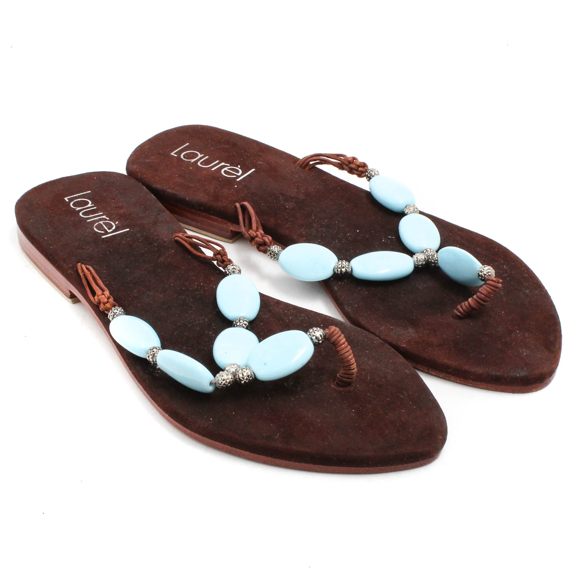 Laurel Leather Thong Sandals with Beads