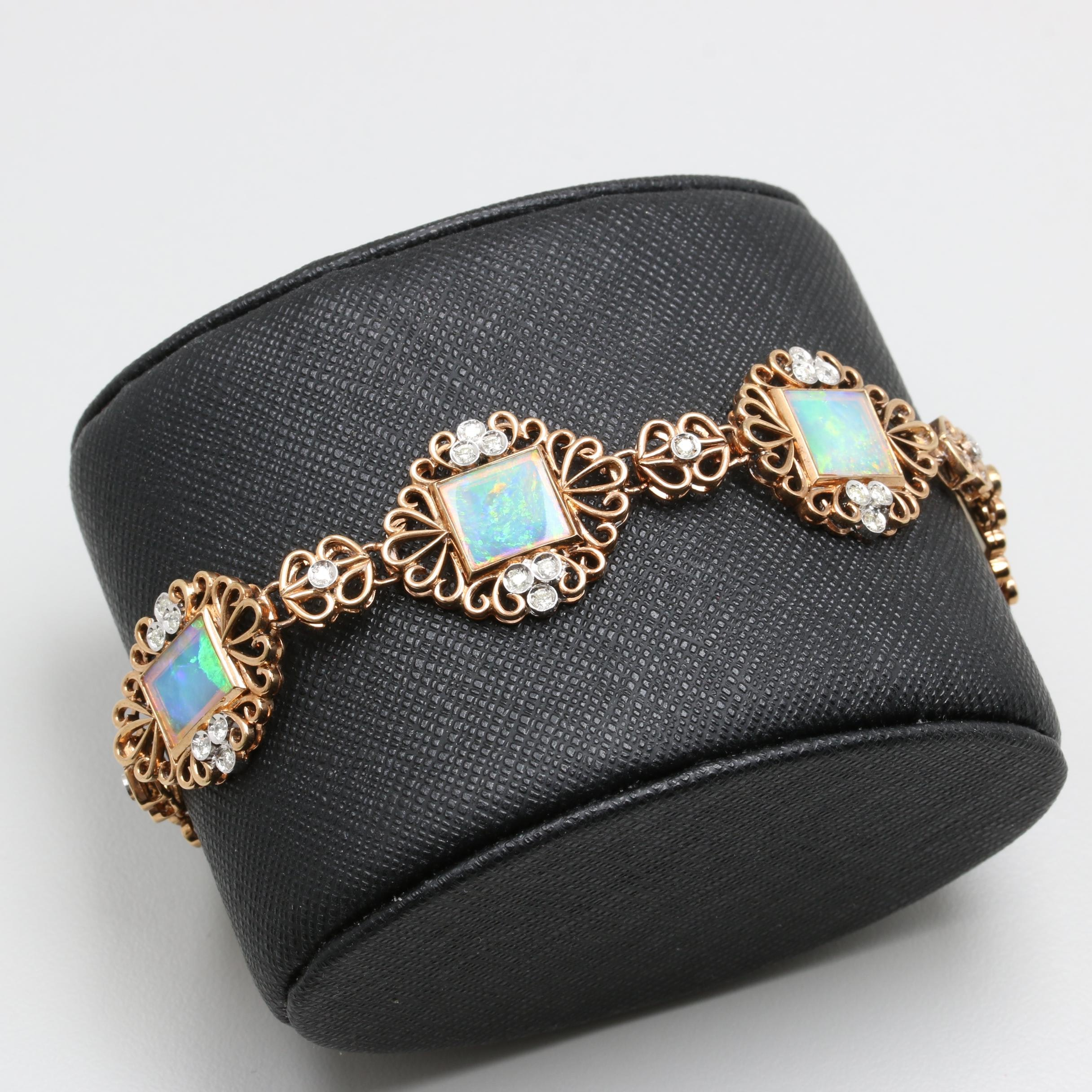Vintage 14K Yellow Gold Opal and Diamond Bracelet with White Gold Accents