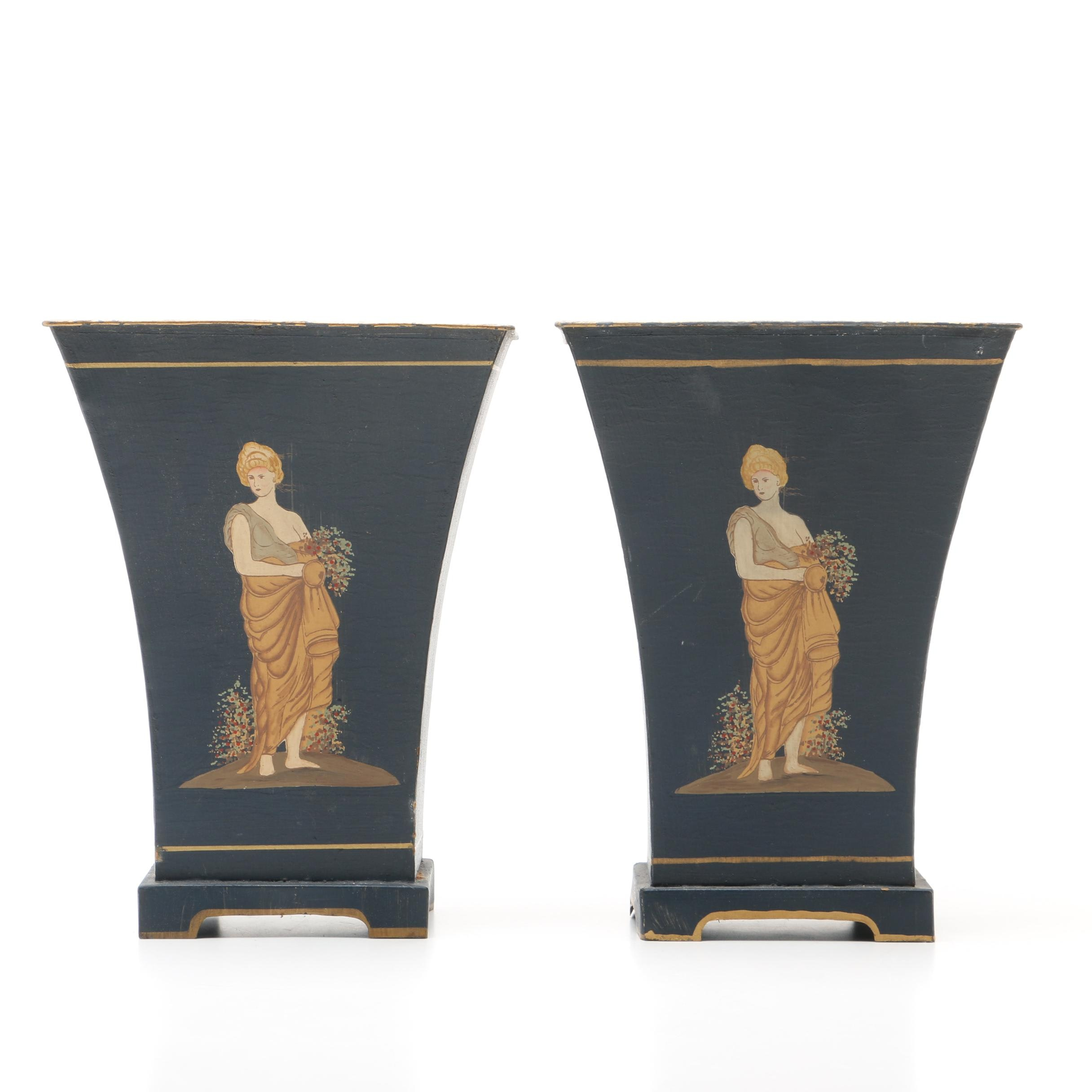 Painted Tole Metal Planters with Printed Neoclassical Motif