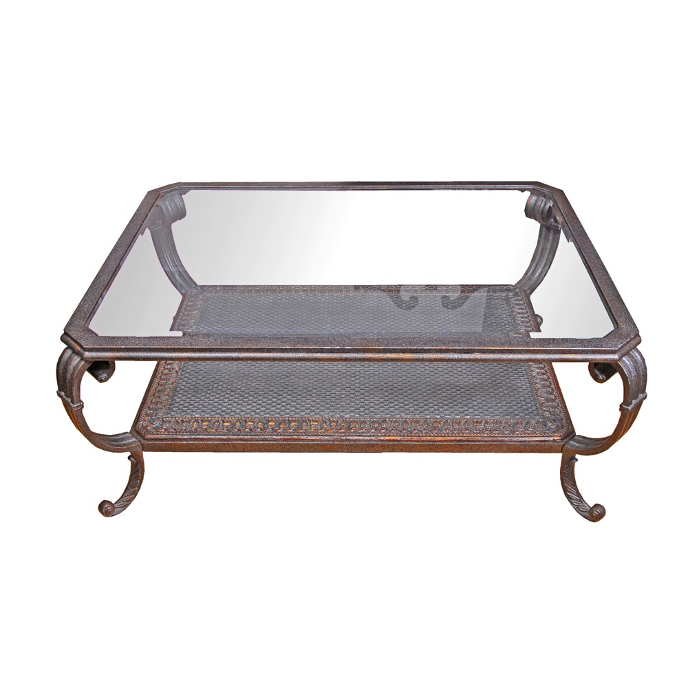 Neoclassical Style Glass Top Coffee Table