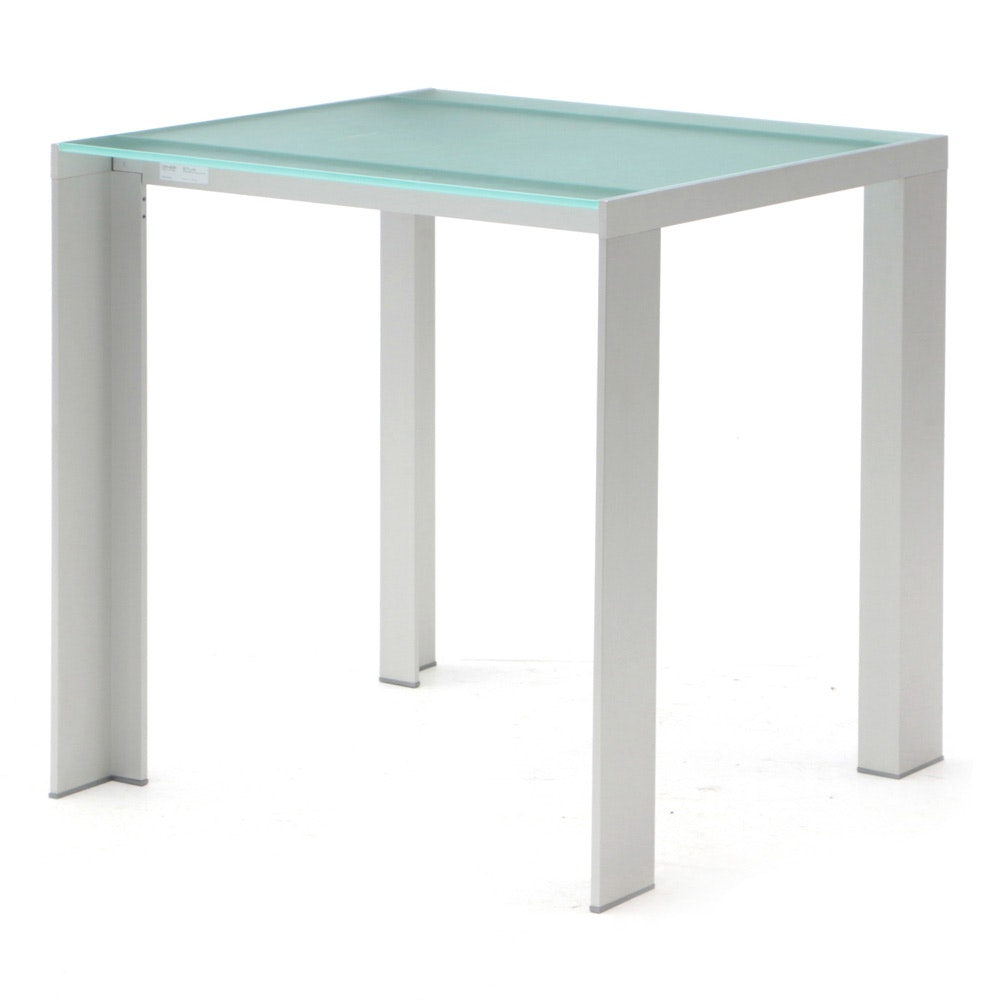 Frosted Glass and Metal Table