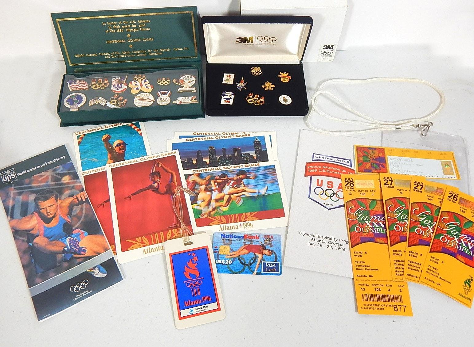 "1996 ""Atlanta"" U.S. Olympics Memorabilia Including Pins, Tickets, and More"