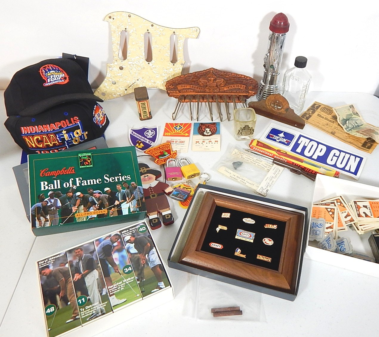 Assorted Vintage Collectibles Including Sports, Boy Scouts, Pinbacks,and More