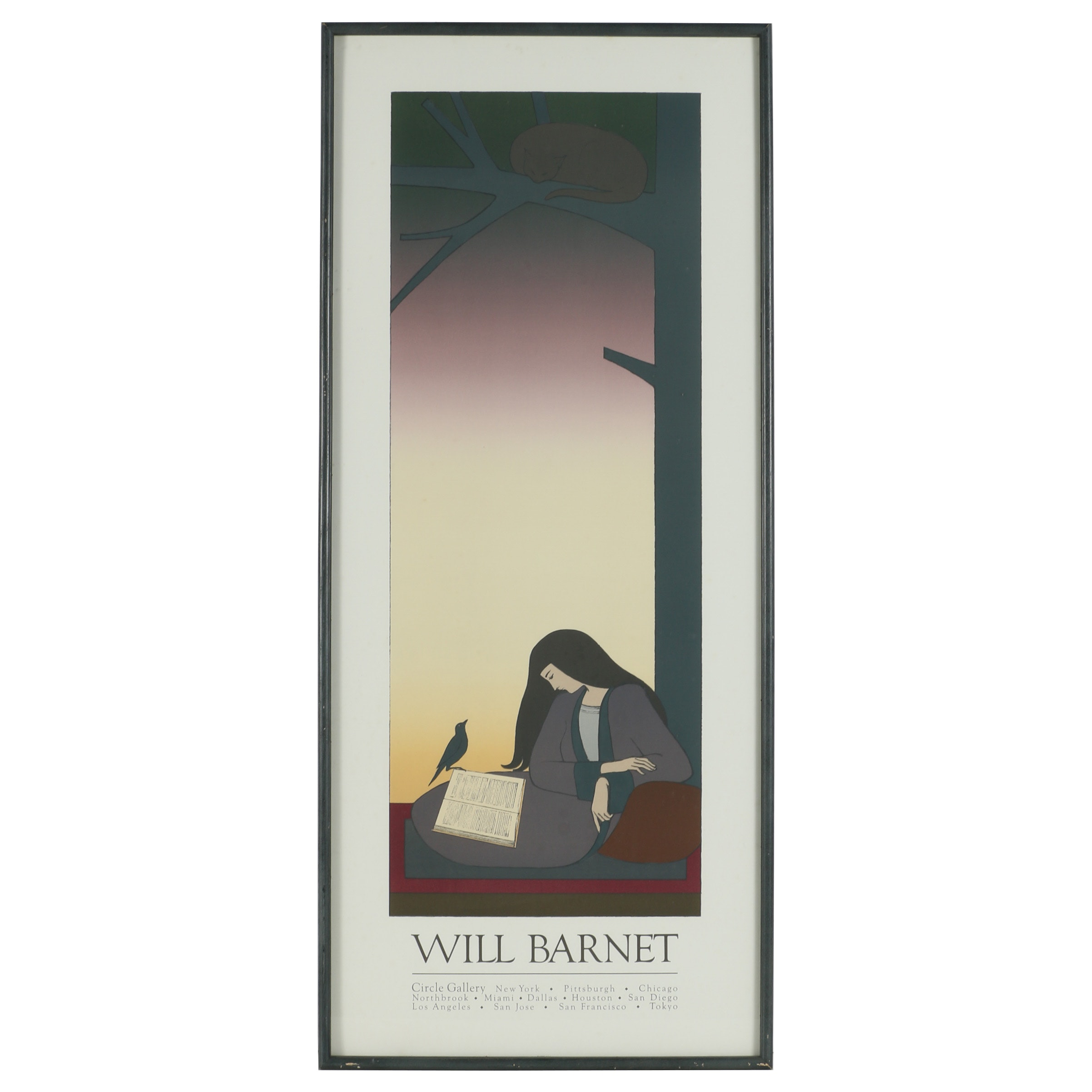 "Color Lithograph Exhibition Poster after Will Barnet ""The Caller"""
