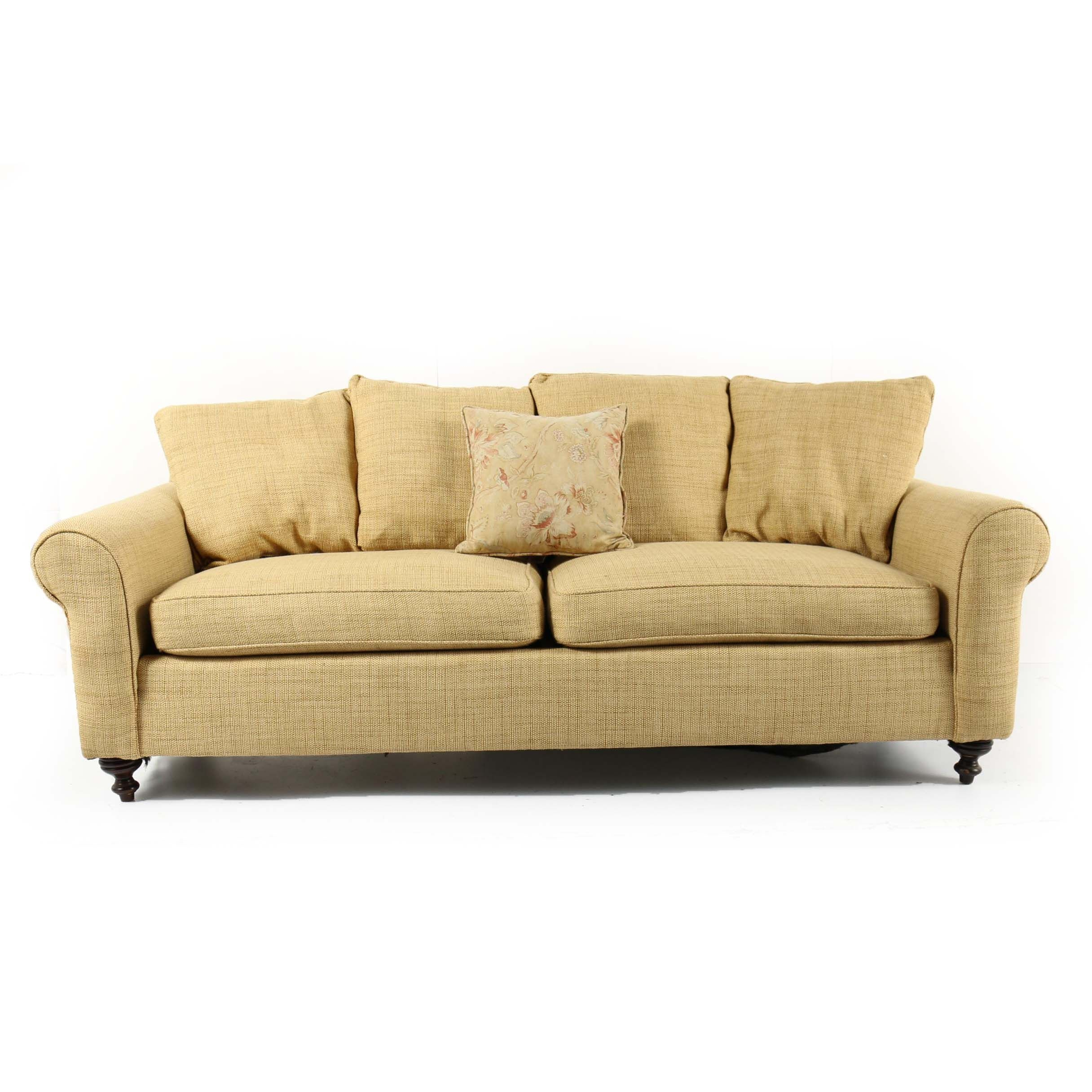 Contemporary Tan Upholstered Sofa