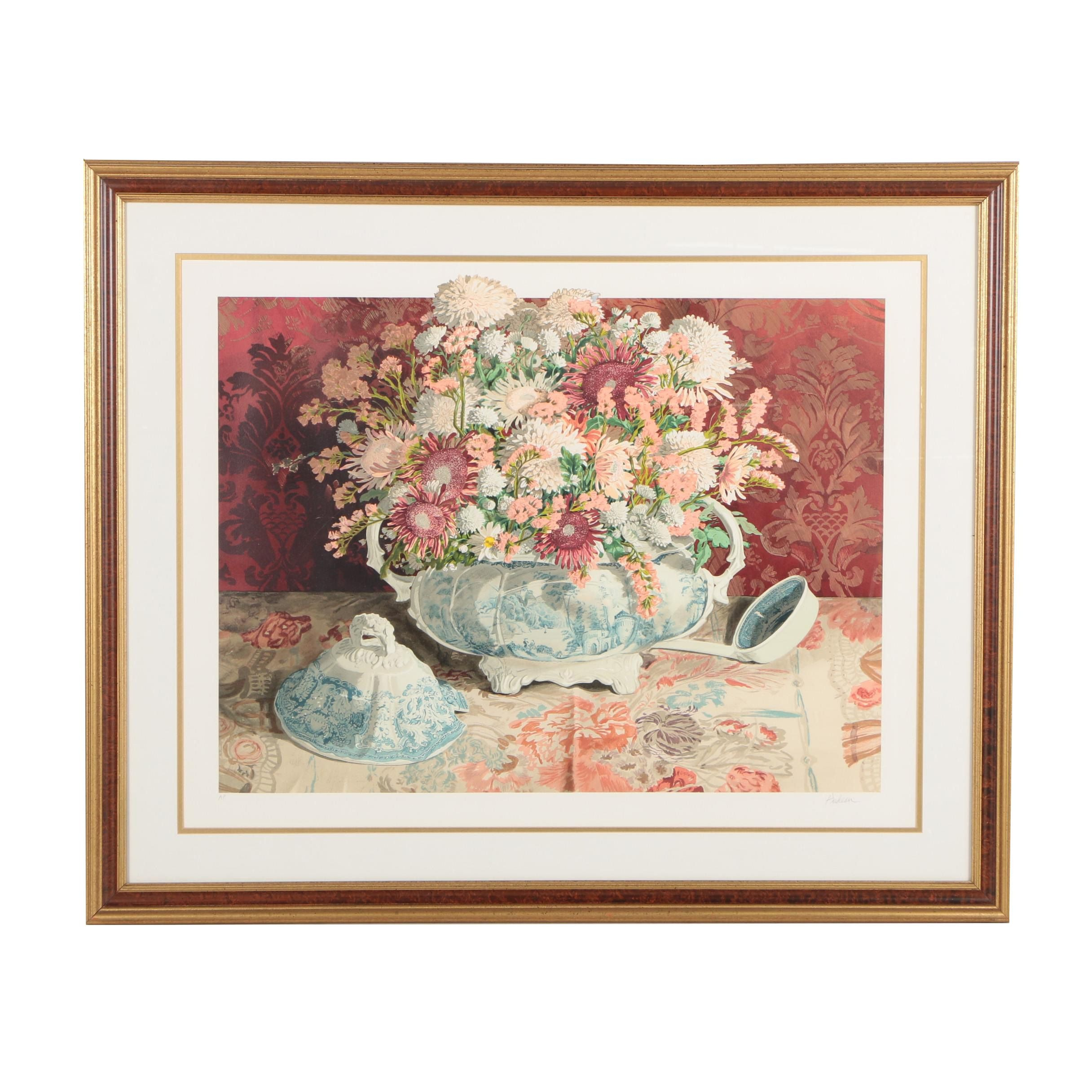 "Audean Johnson Color Lithograph ""English Bouquet"""