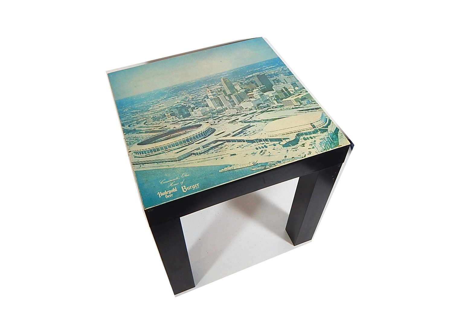 1970 Burger/Hudepohl Beer Stacking Table With Color Image of Riverfront Stadium