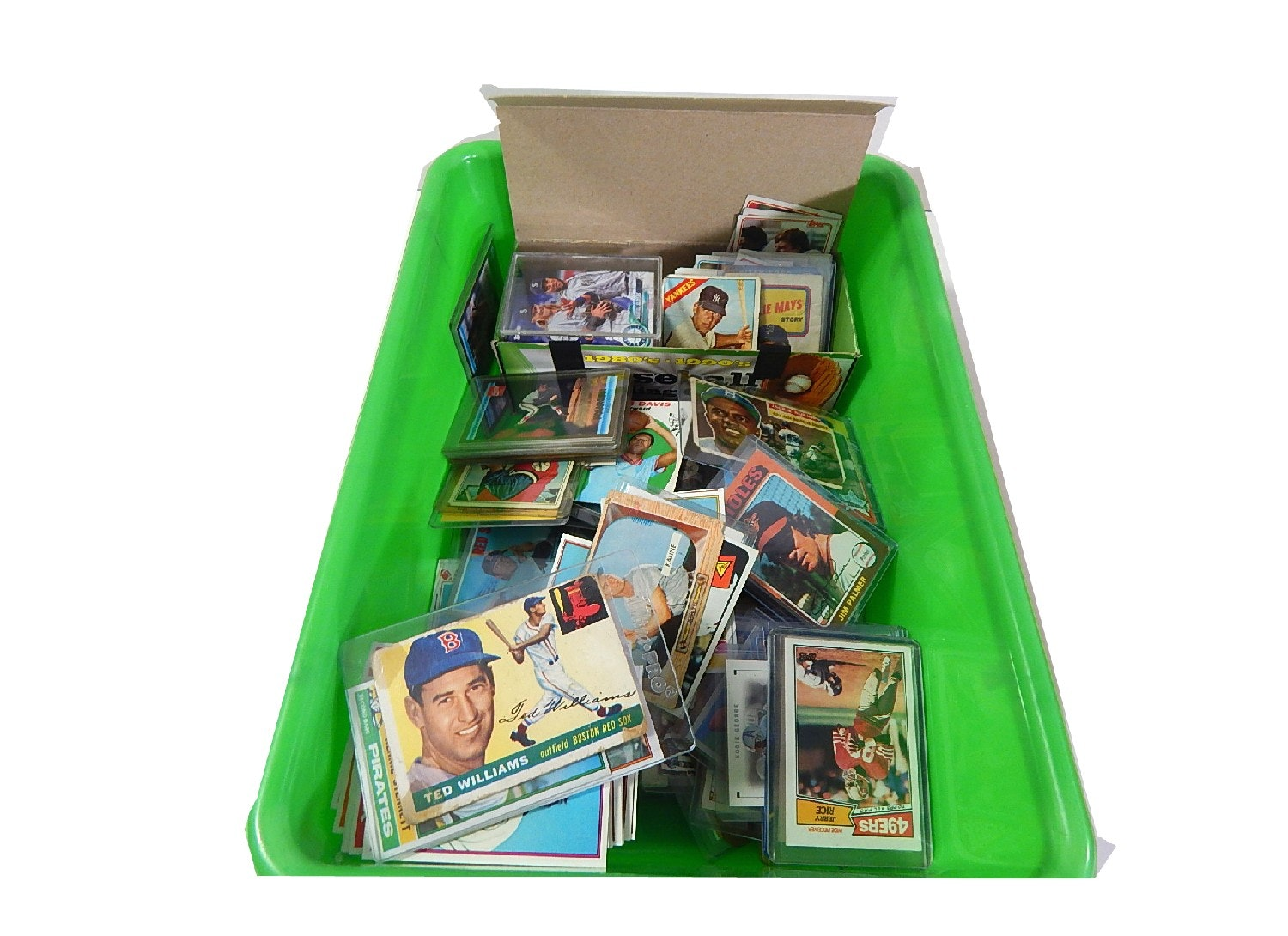Bin of 1950's thru 2000's Sports Cards - with 1955 Ted Williams