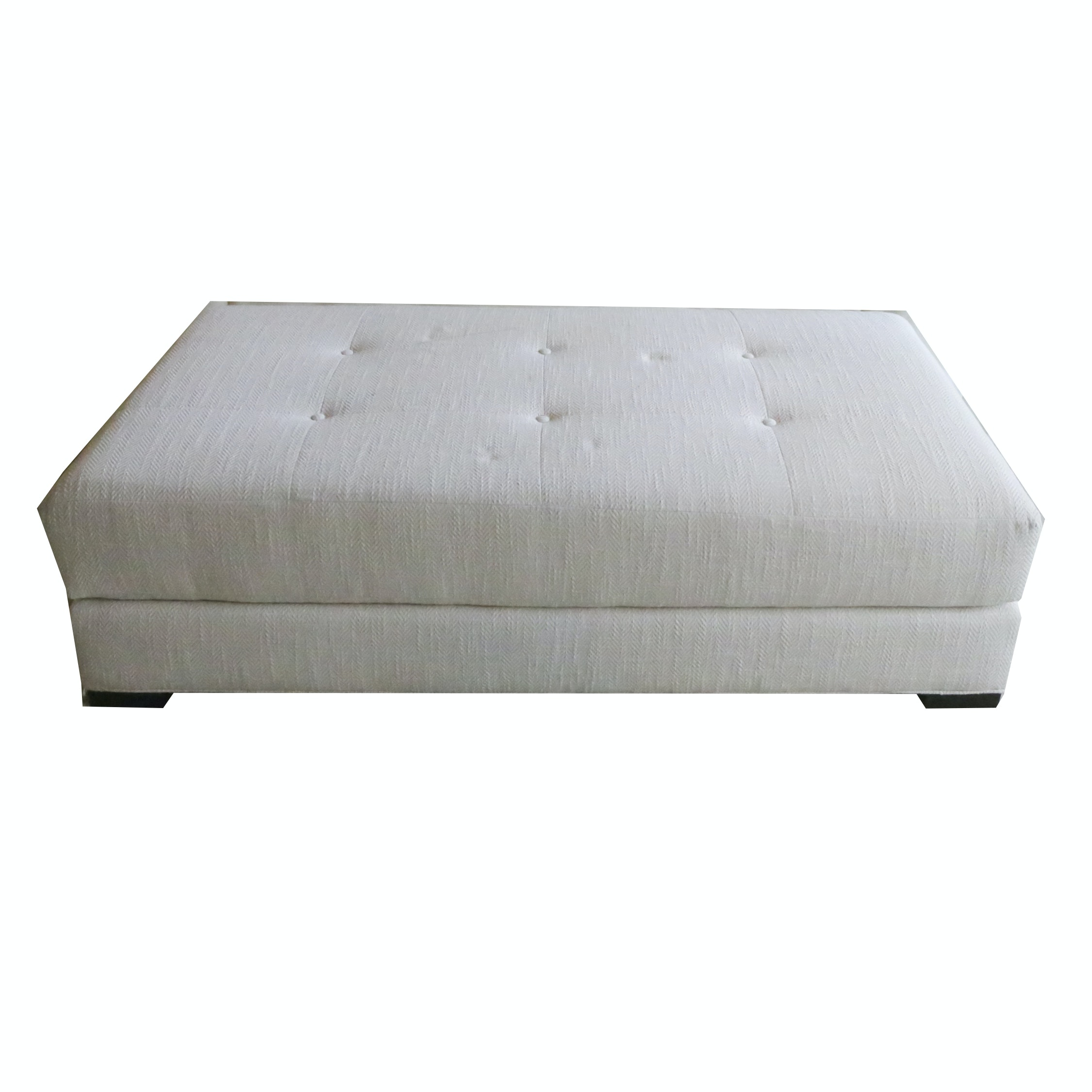 White Upholstered Long Ottoman