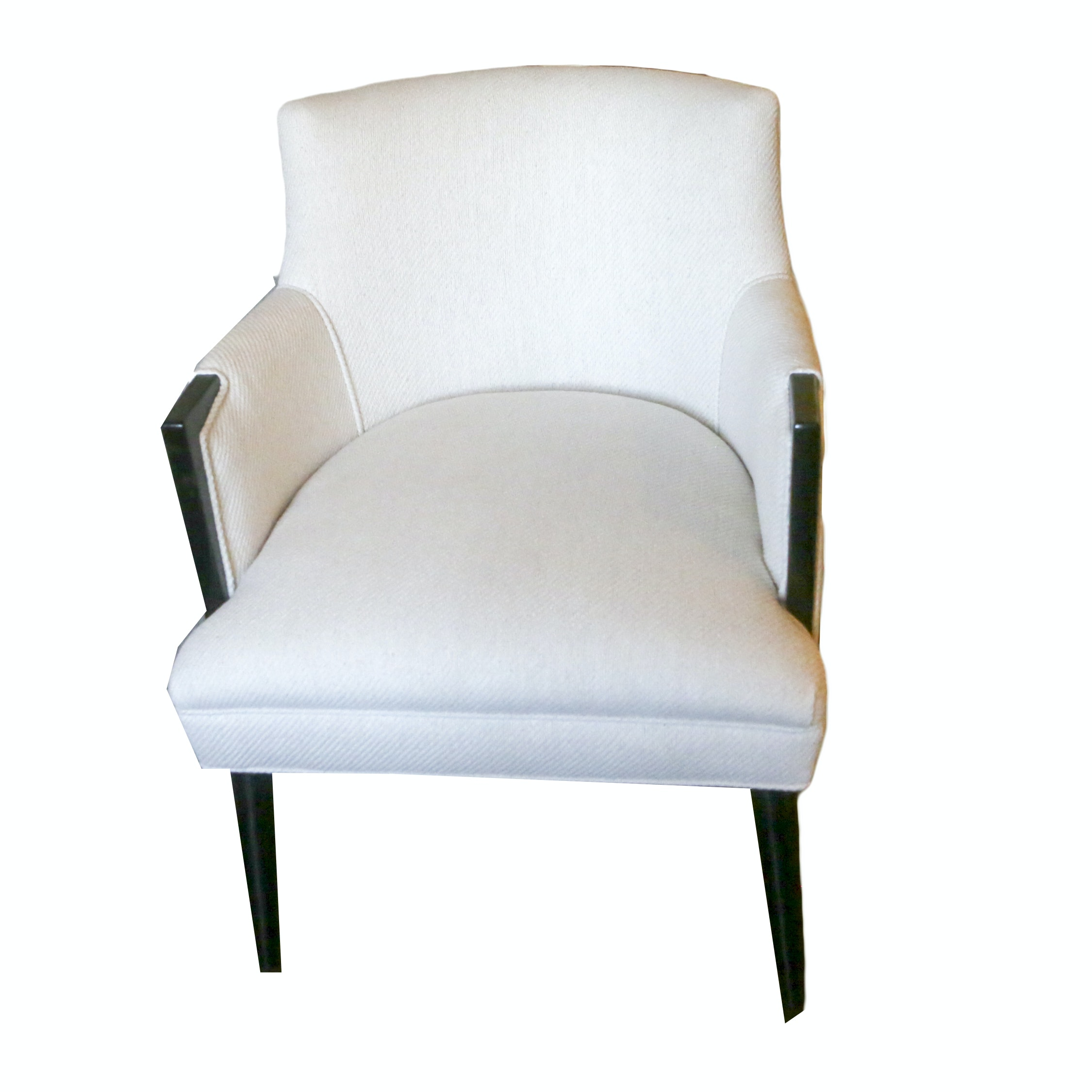 White Upholstered Tub Style Armchair