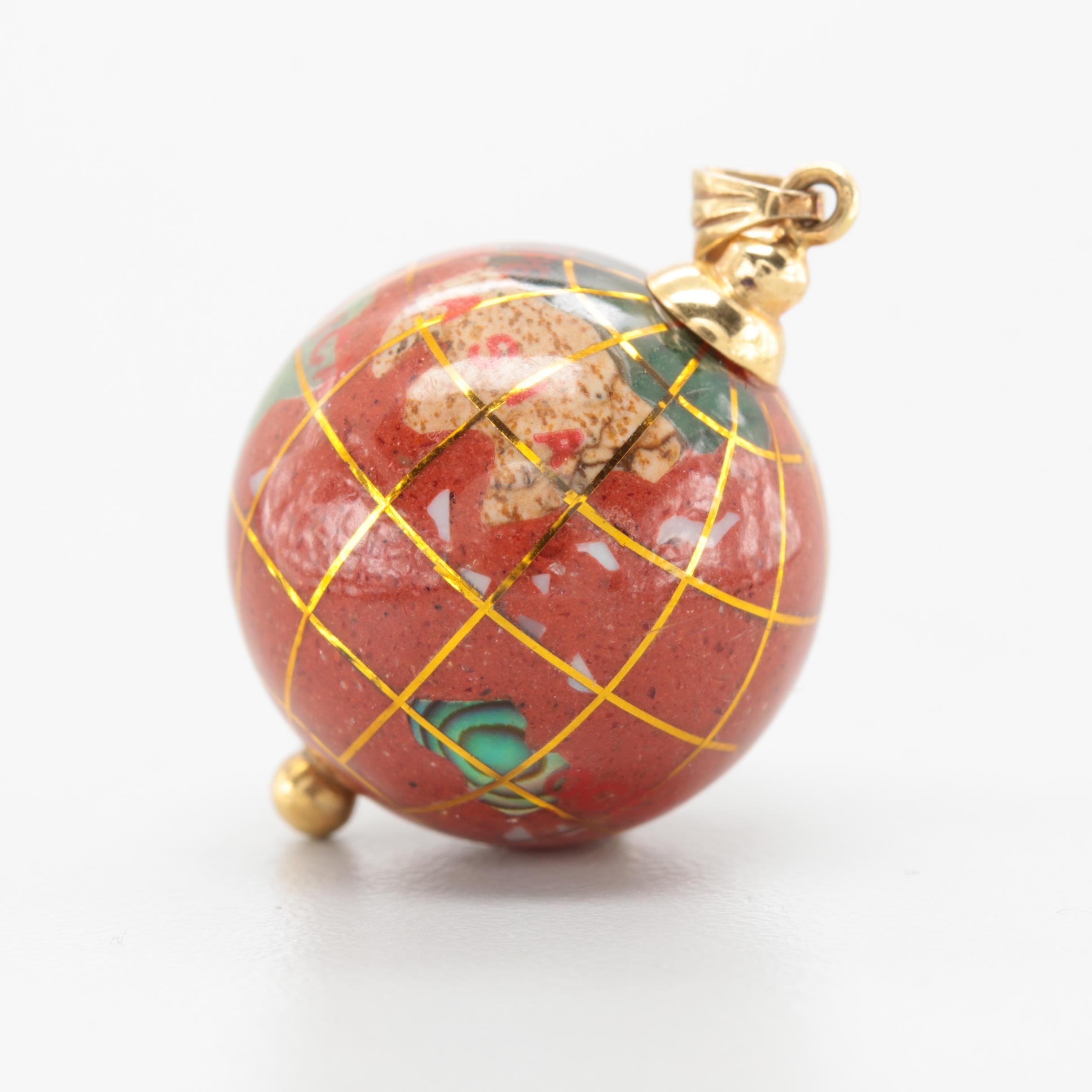 14K Yellow Gold Globe Pendant Featuring Jasper, Serpentine and Abalone